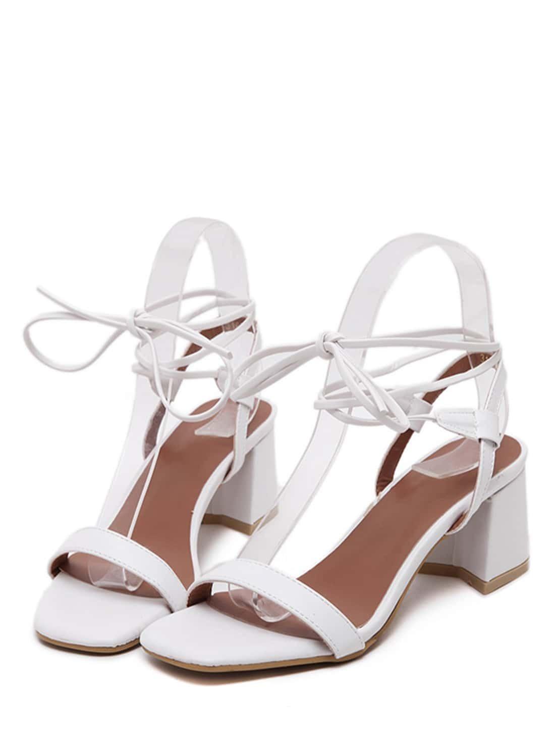 sandale talon en su dine bout ouvert blanc blanc. Black Bedroom Furniture Sets. Home Design Ideas