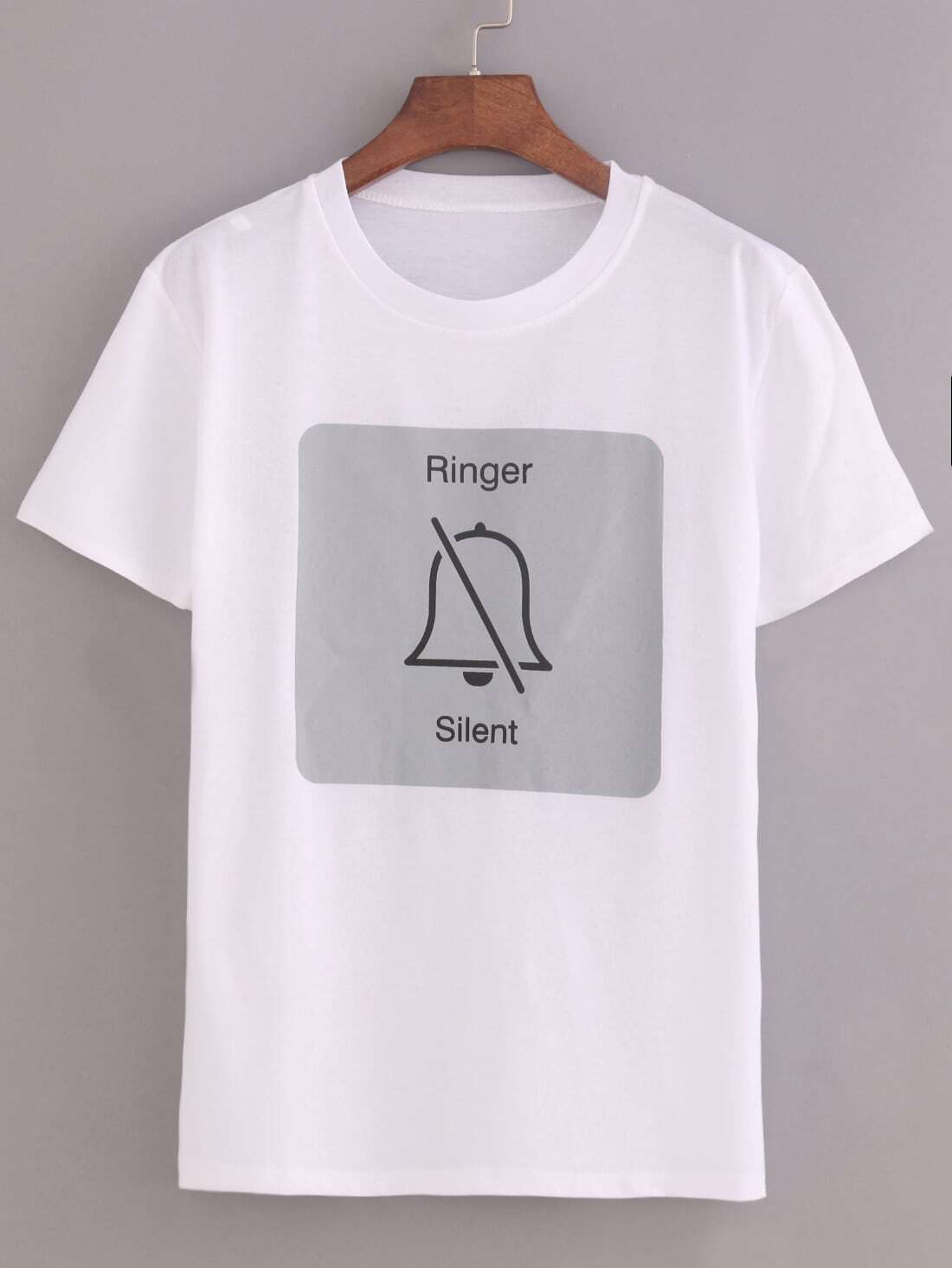 ringer silent print t shirtfor women romwe. Black Bedroom Furniture Sets. Home Design Ideas