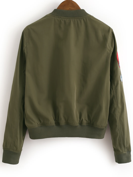 Army green zipper front badge embroidery jacketfor women romwe