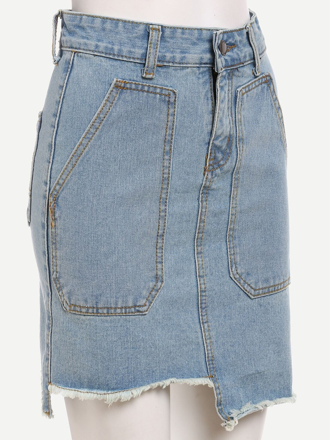 pocket front asymmetric denim pencil skirt light bluefor