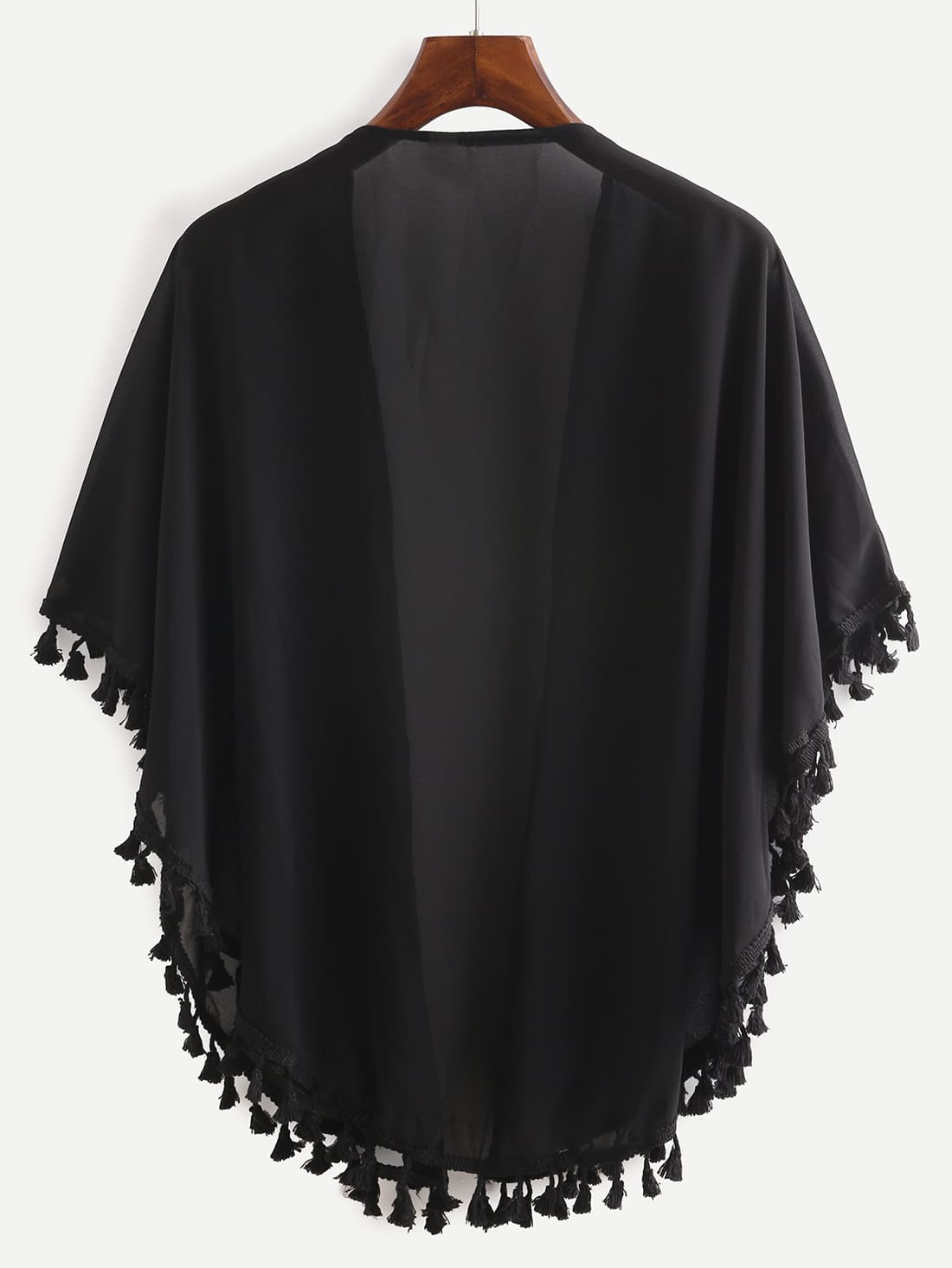 Japanese influence is evident in this sheer chiffon 3/4 length sleeved kimono-esque layering piece. I adore the cheery blossom floral print teamed up with a sheer black canvas.