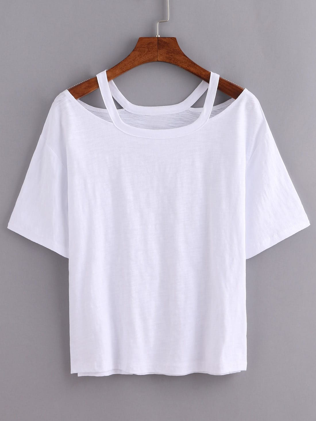 Cutout loose fit white t shirtfor women romwe for How to get foundation out of a white shirt