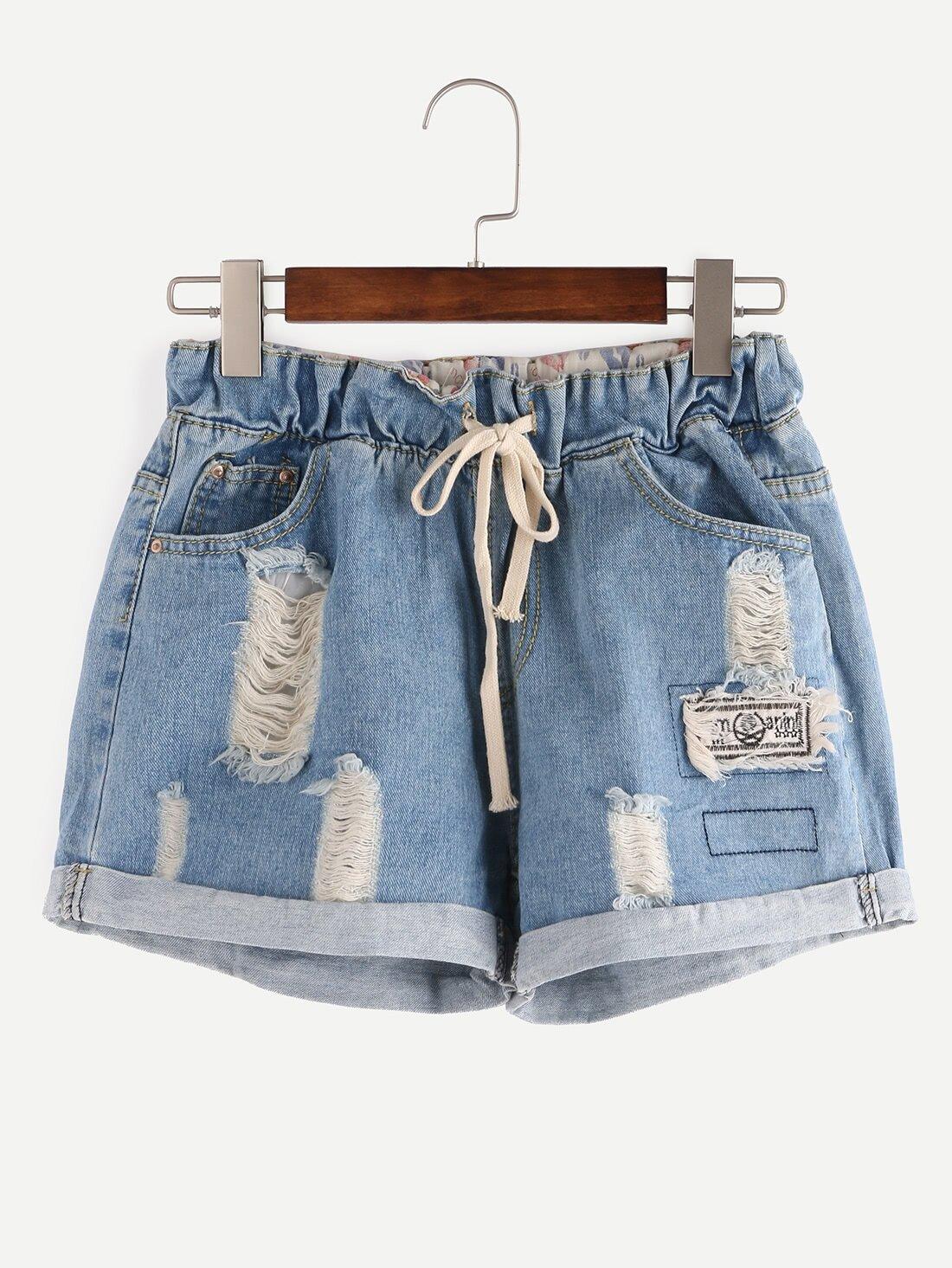 Ripped Drawstring Waist Rolled Hem Blue Denim Shorts
