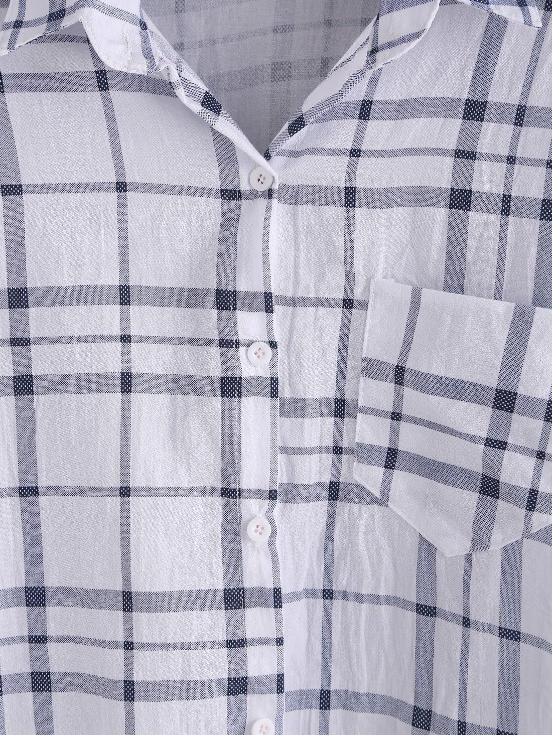 blouse plaid manche longue avec poche noir blanc. Black Bedroom Furniture Sets. Home Design Ideas