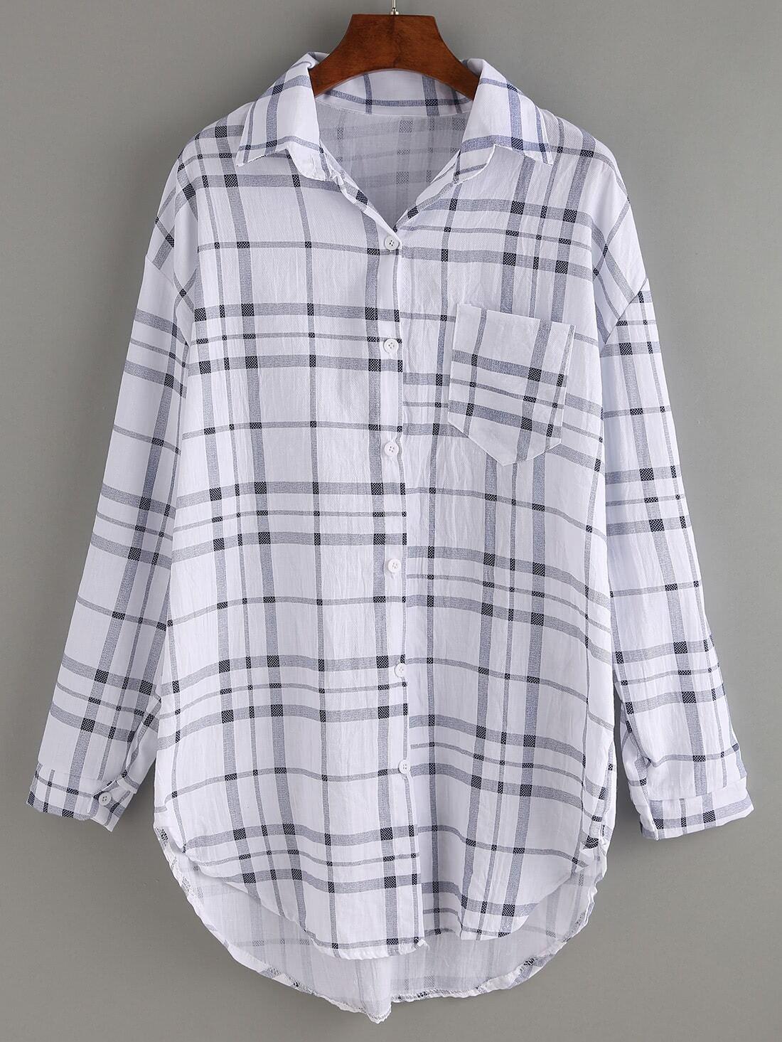 blouse plaid manche longue avec poche noir blanc french romwe. Black Bedroom Furniture Sets. Home Design Ideas