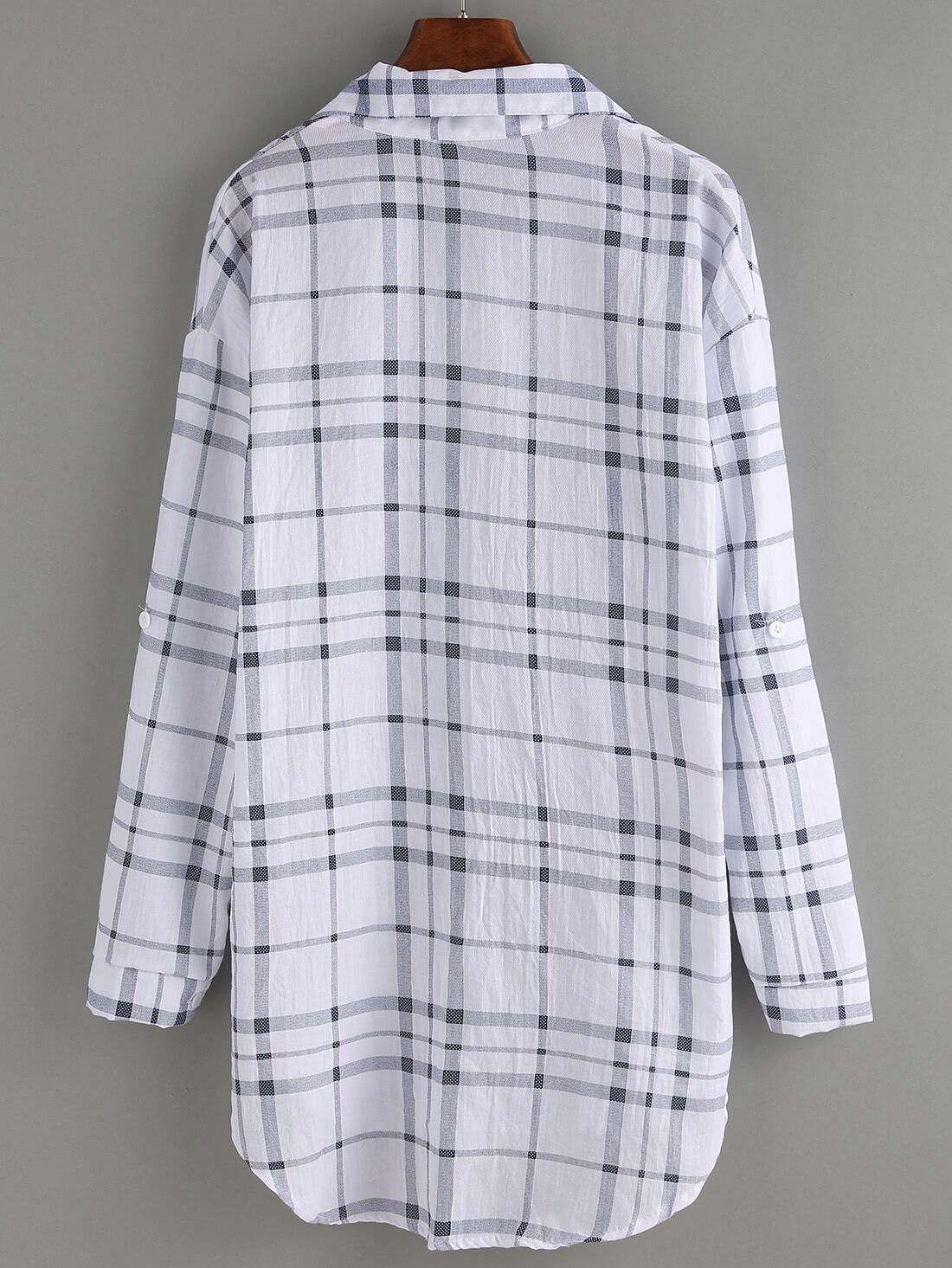 blouse plaid manche longue avec poche noir blanc french. Black Bedroom Furniture Sets. Home Design Ideas