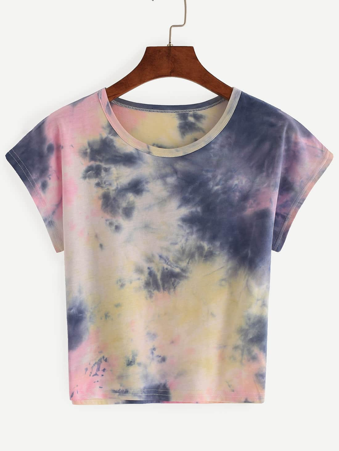 Color block tie dye t shirtfor women romwe for Tie dye t shirt printing