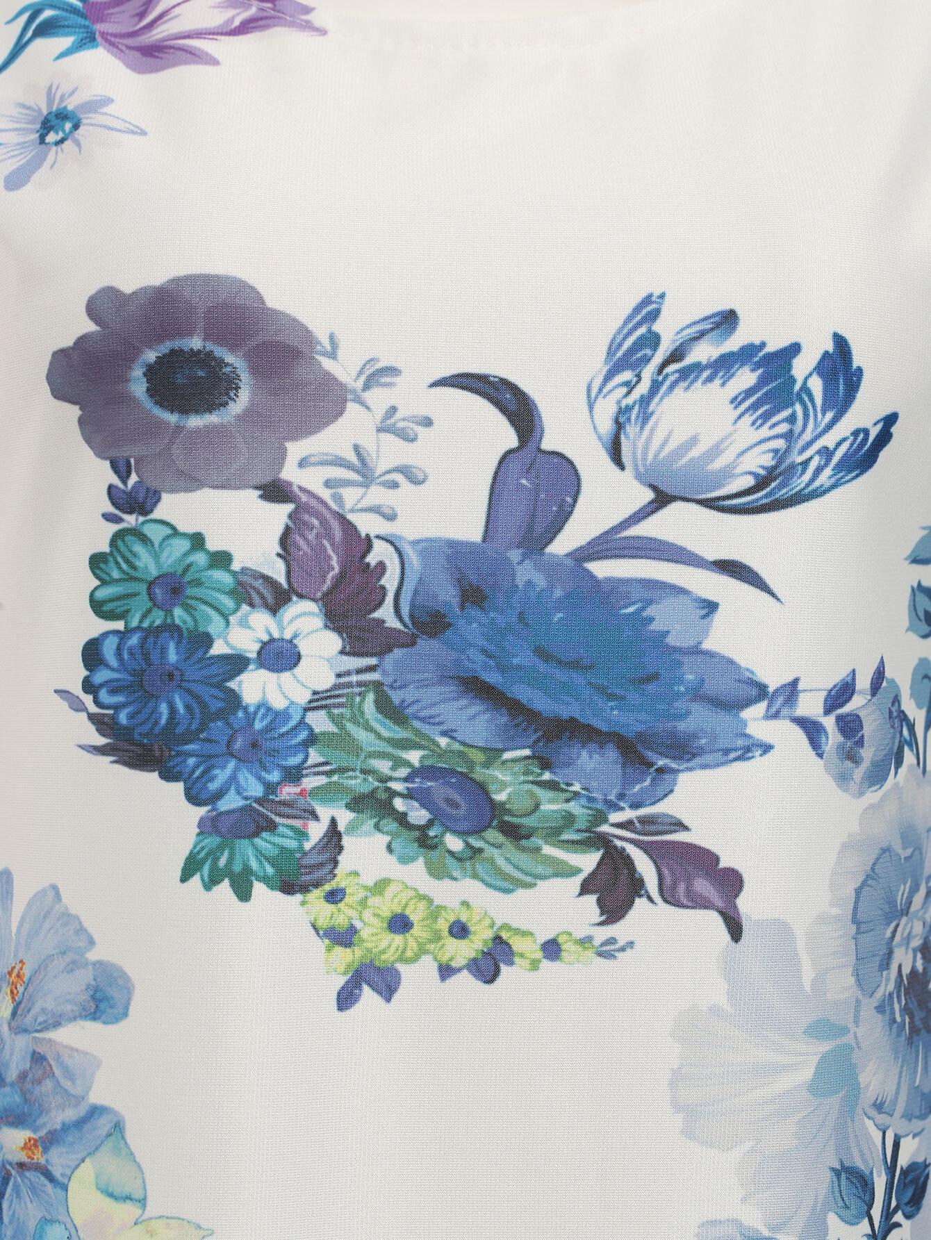 robe vas e motif fleuri sans manche blanc french romwe. Black Bedroom Furniture Sets. Home Design Ideas