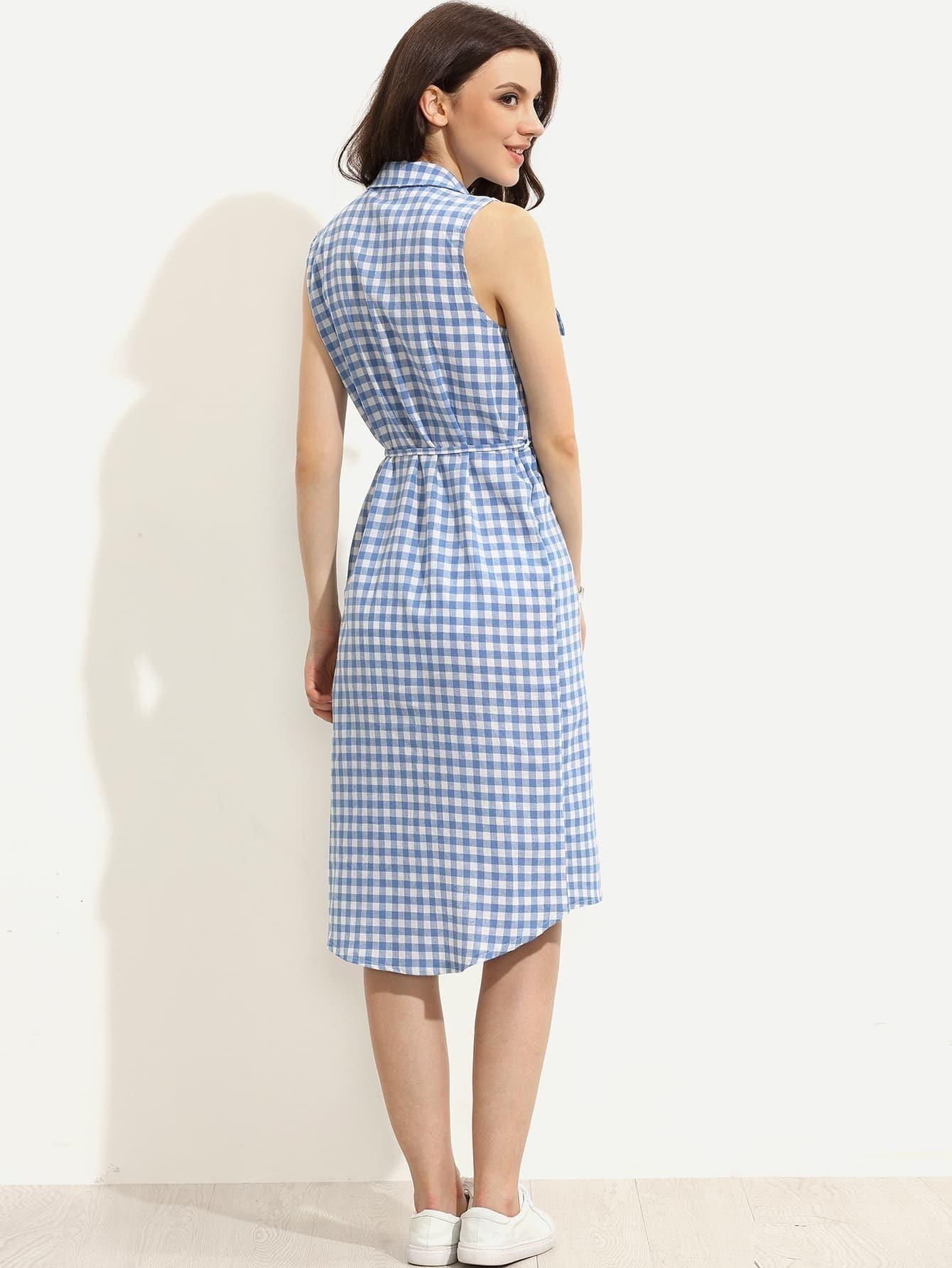 robe plaid sans manche avec ceinture bleu. Black Bedroom Furniture Sets. Home Design Ideas