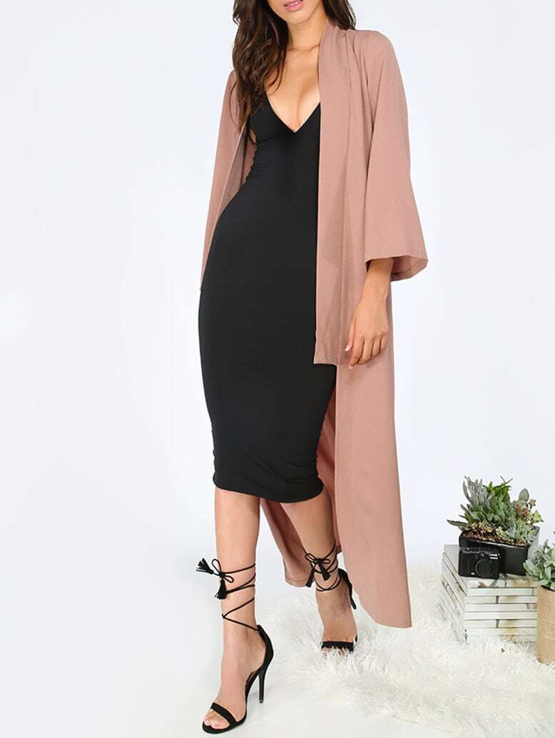 Brown Long Sleeve Lapel Cardigan Long OuterwearFor Women-romwe