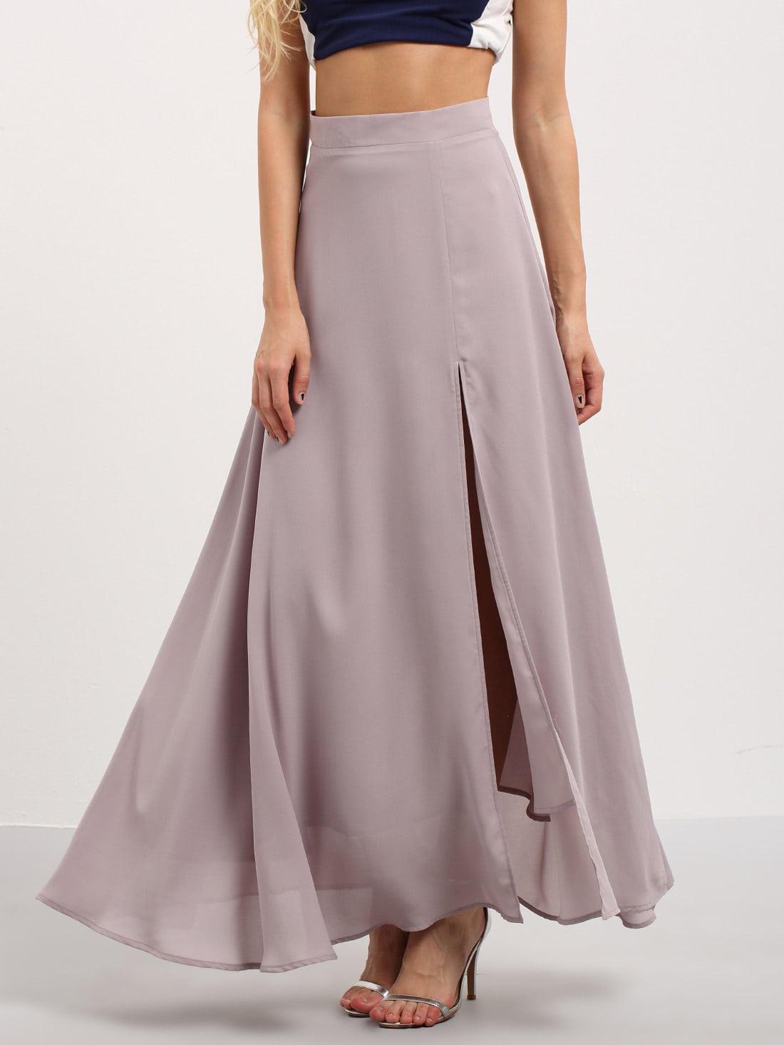 purple split chiffon maxi skirt. Black Bedroom Furniture Sets. Home Design Ideas
