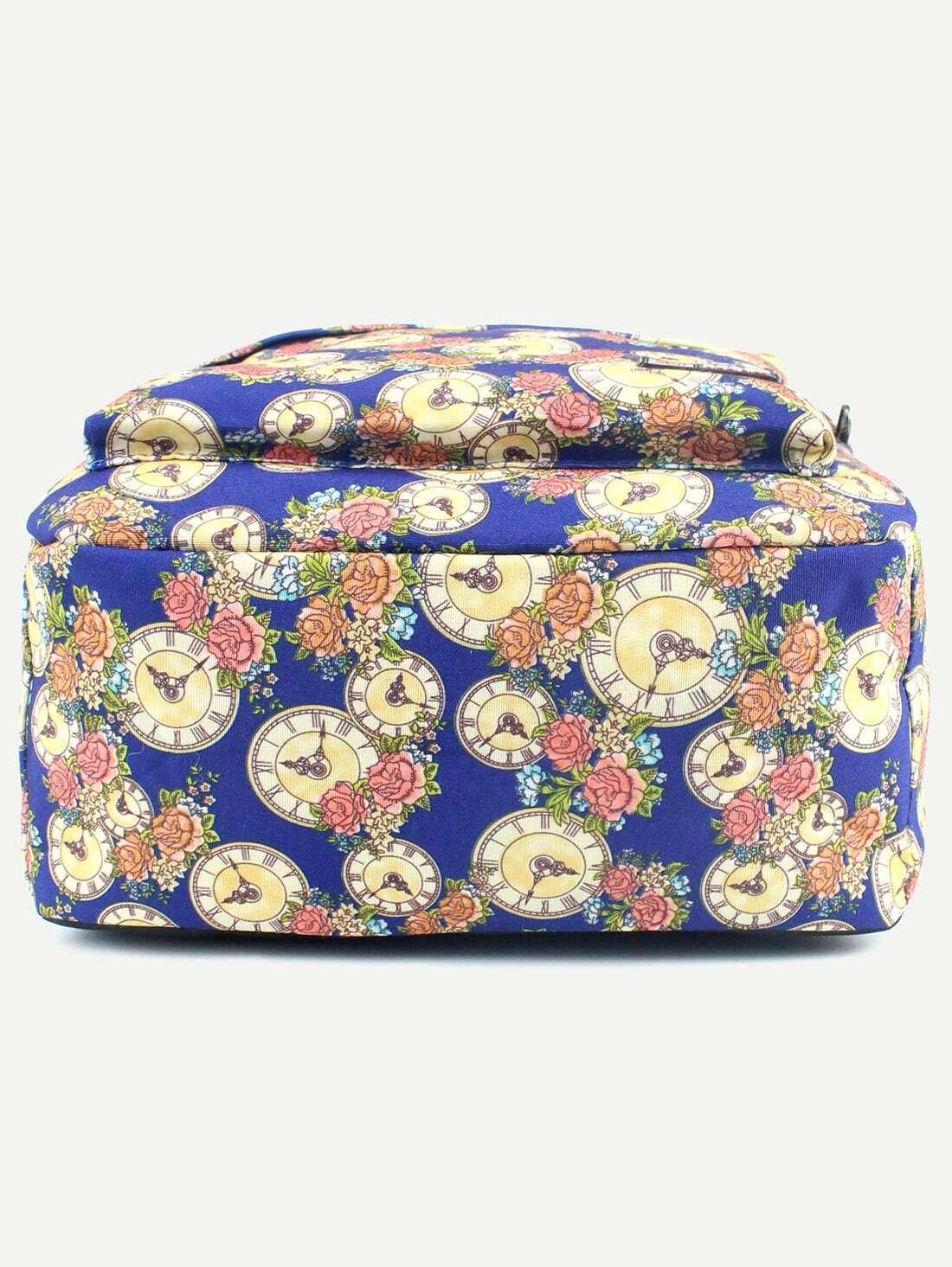 segeltuch rucksack mit rose druck blau german romwe. Black Bedroom Furniture Sets. Home Design Ideas