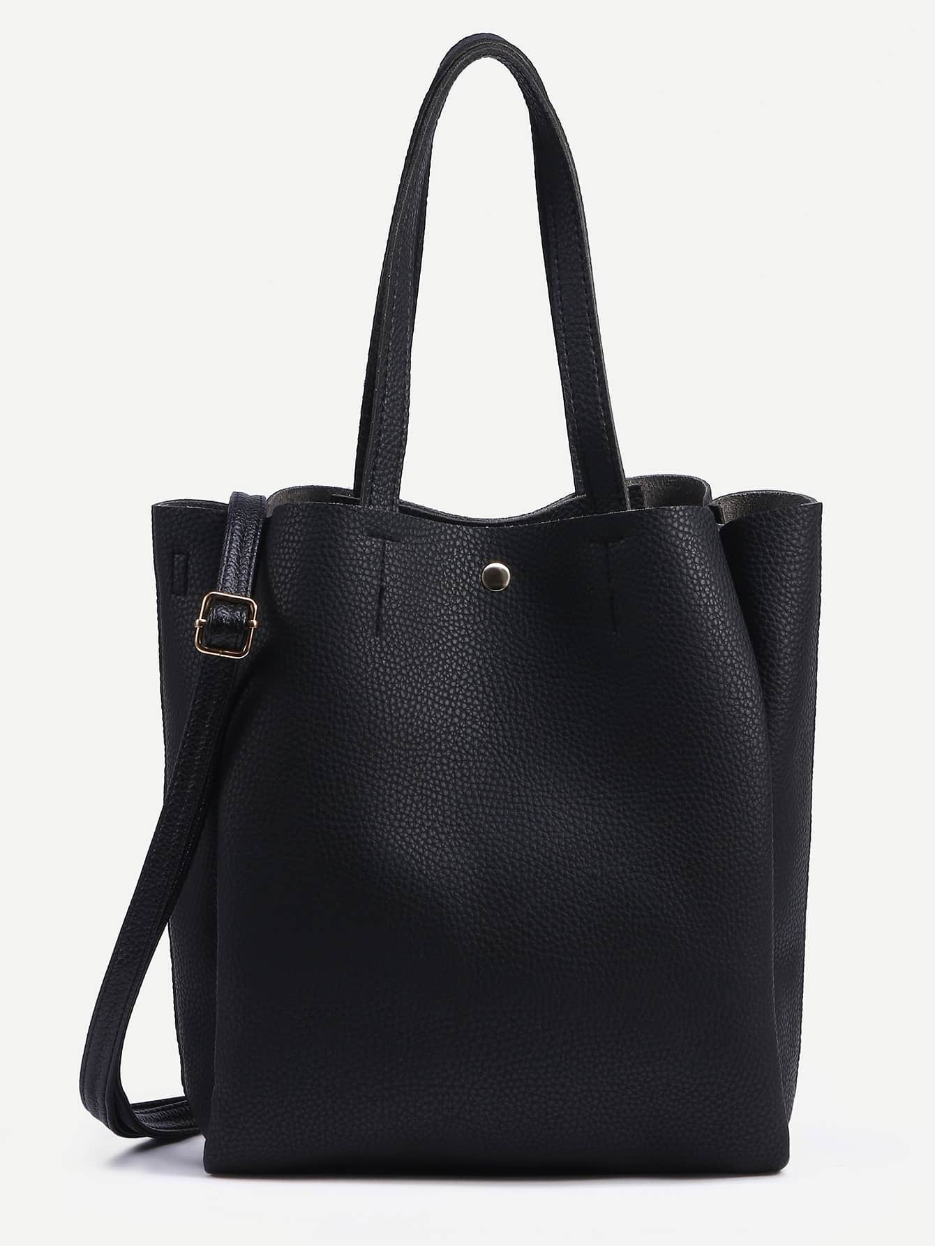 Black Pebbled Layered Tote Bag With Strap