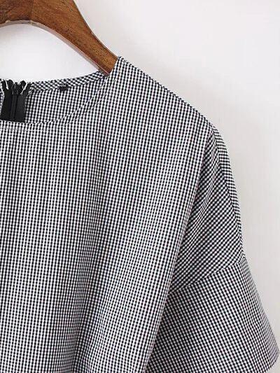 robe plaid manche courte avec ceinture noir blanc french romwe. Black Bedroom Furniture Sets. Home Design Ideas