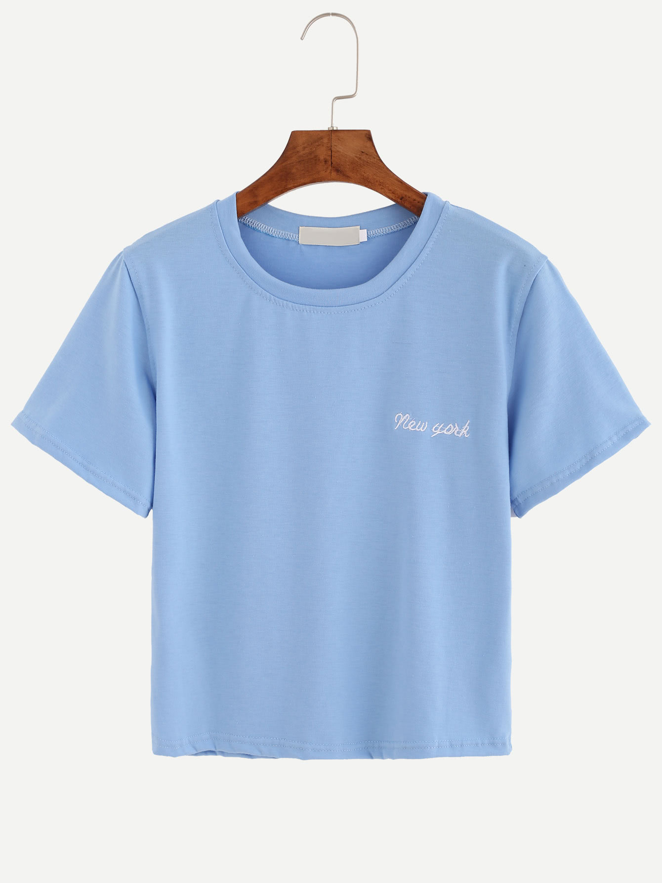 Blue letter embroidered t shirtfor women romwe