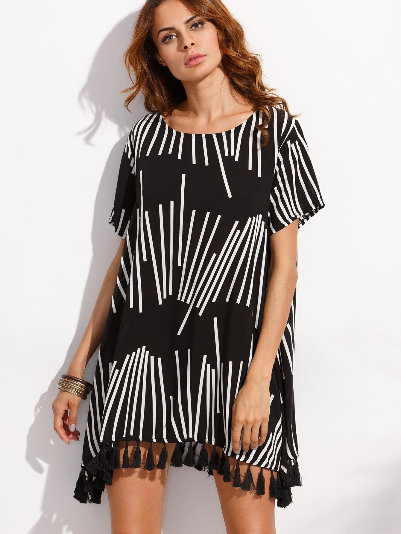 robe imprim g om trique avec franges noir french romwe. Black Bedroom Furniture Sets. Home Design Ideas