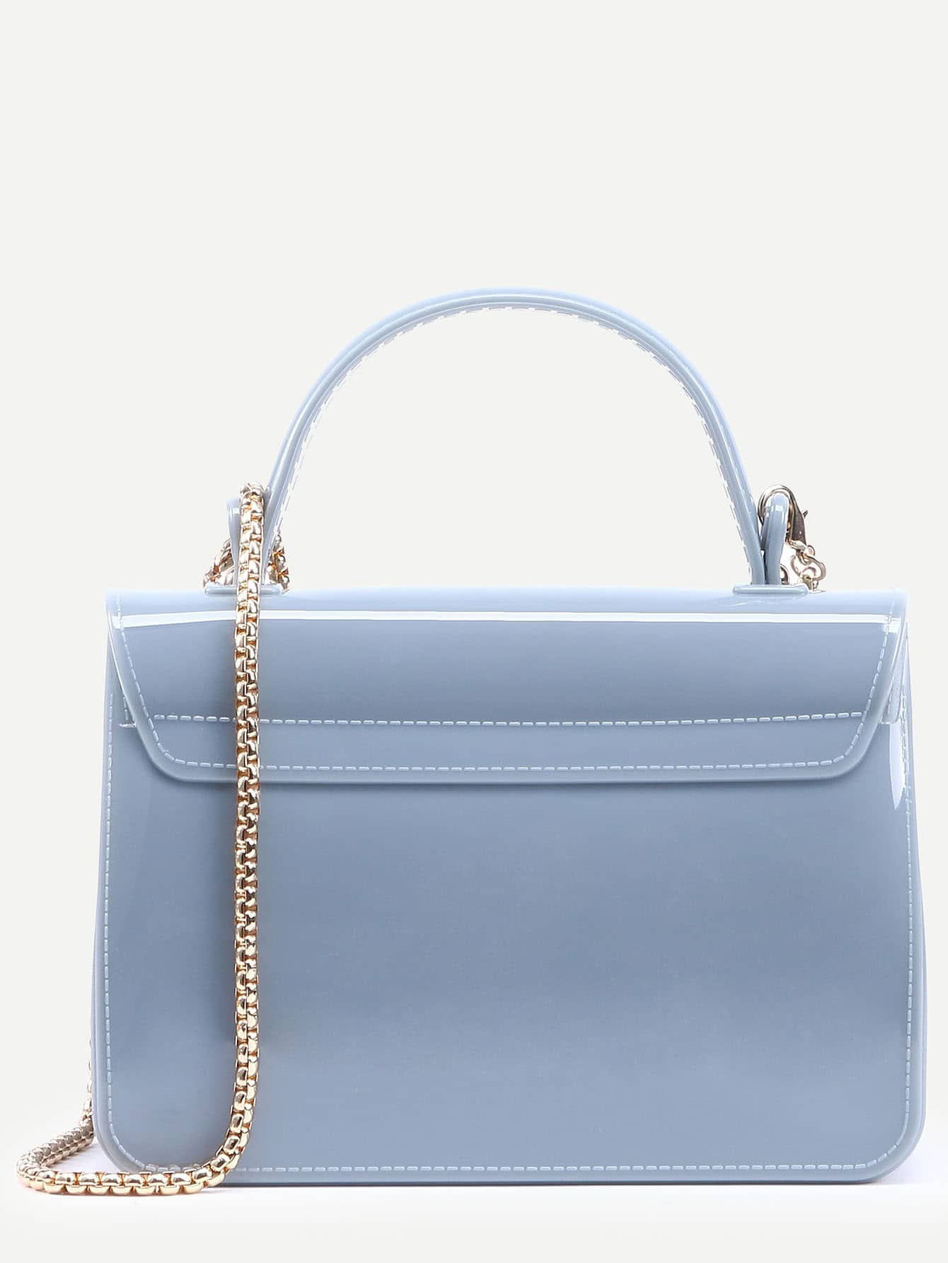 Baby Blue Pushlock Closure Plastic Handbag With Chain