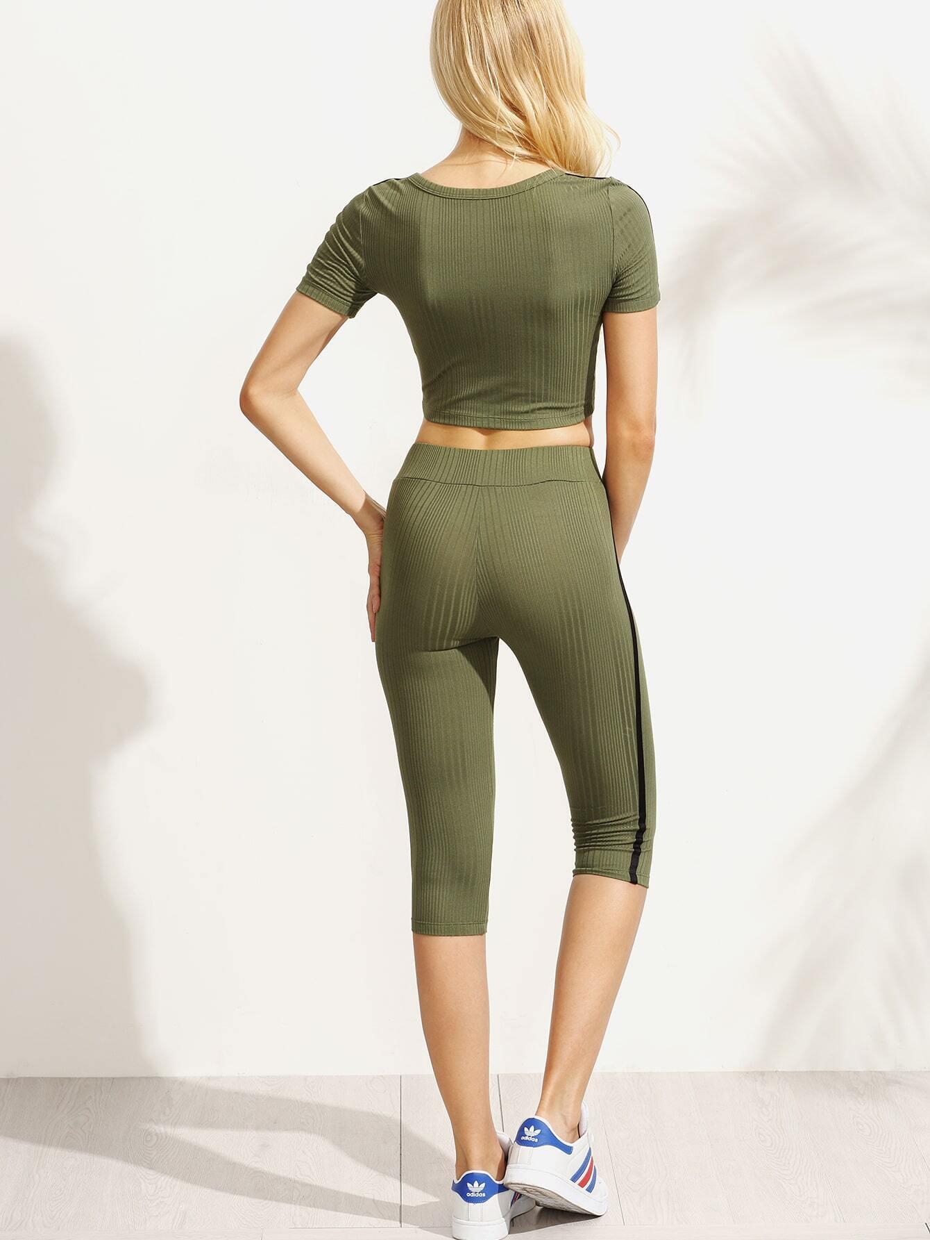 ensemble t shirt manche courte avec pantalons vert kaki french romwe. Black Bedroom Furniture Sets. Home Design Ideas