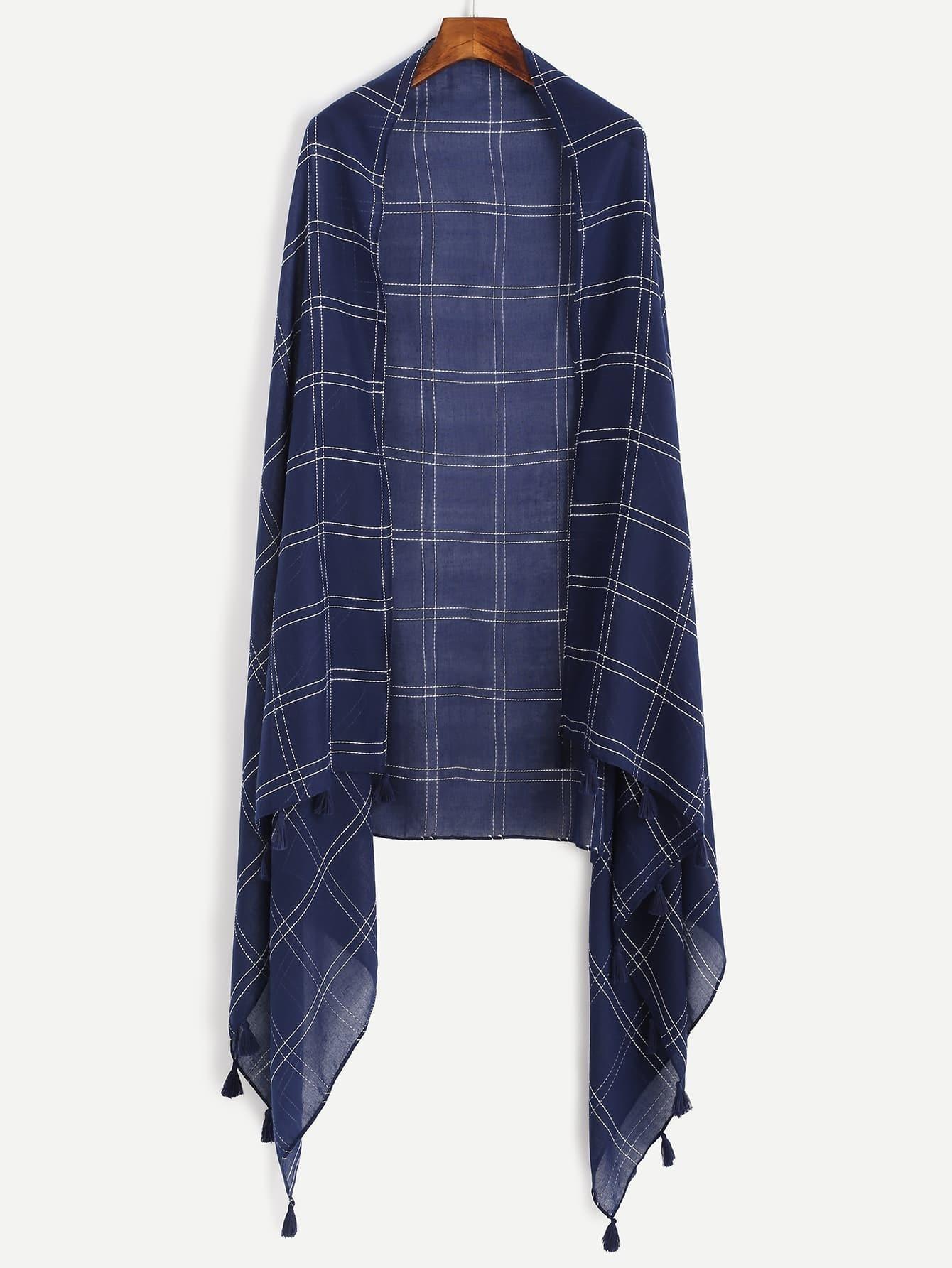 charpe plaid avec franges bleu marine french romwe. Black Bedroom Furniture Sets. Home Design Ideas
