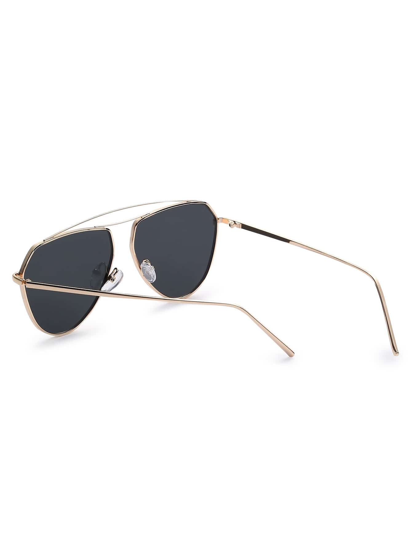 Gold Metal Frame Black Lens Aviator Sunglasses