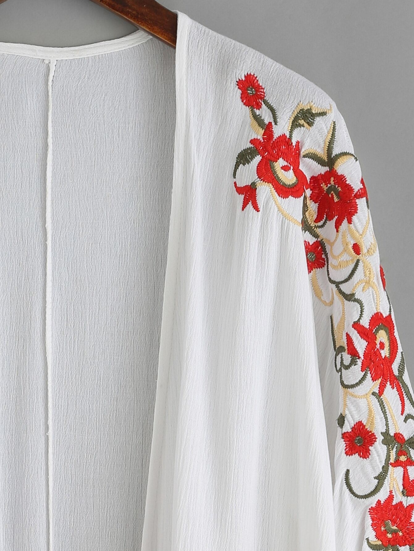 White floral embroidered fringe kimonofor women romwe