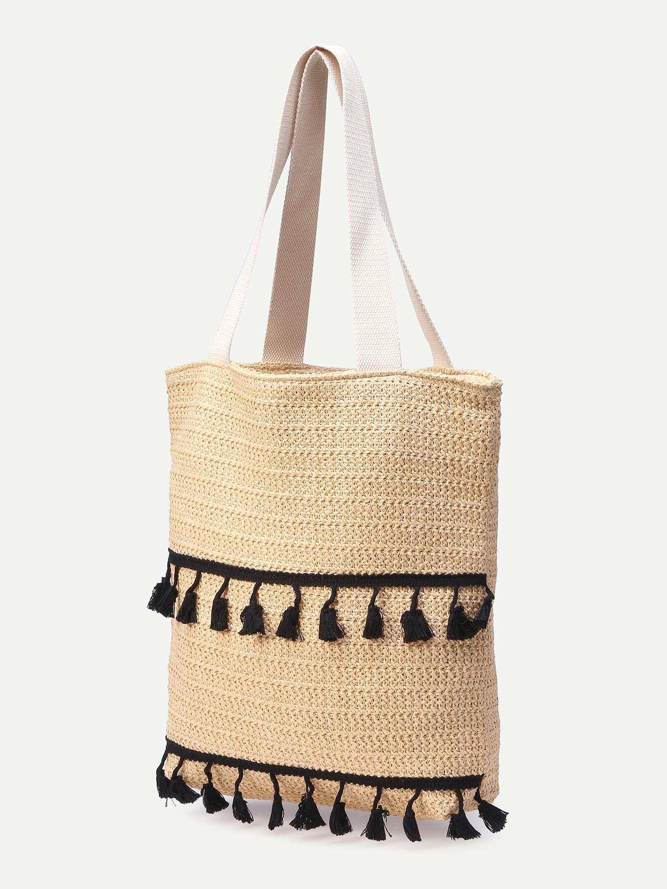 sac main en paille avec frange beige french romwe. Black Bedroom Furniture Sets. Home Design Ideas