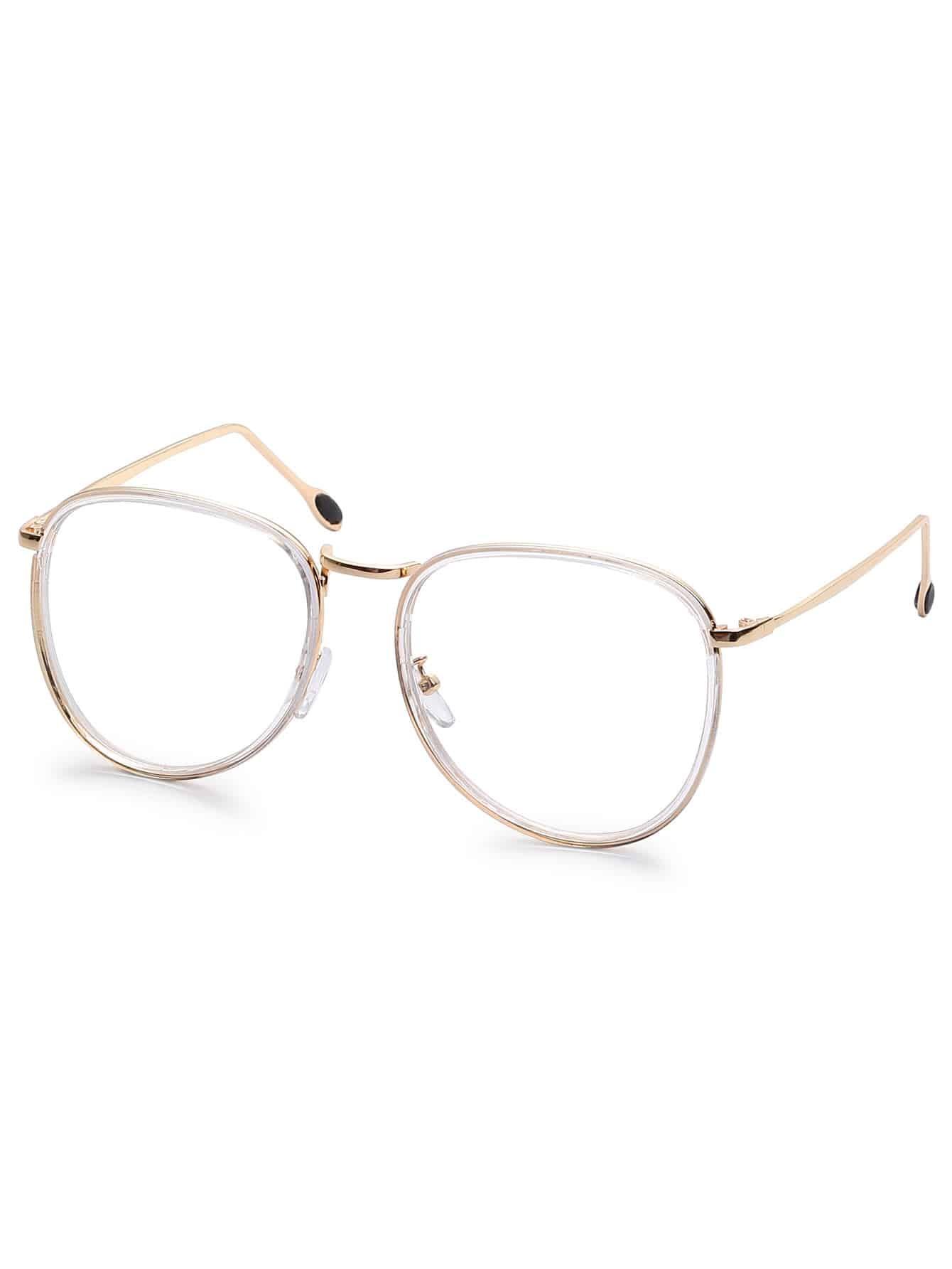 Eyeglasses frames in style - Gold Metal Frame Clear Lens Retro Style Glasses