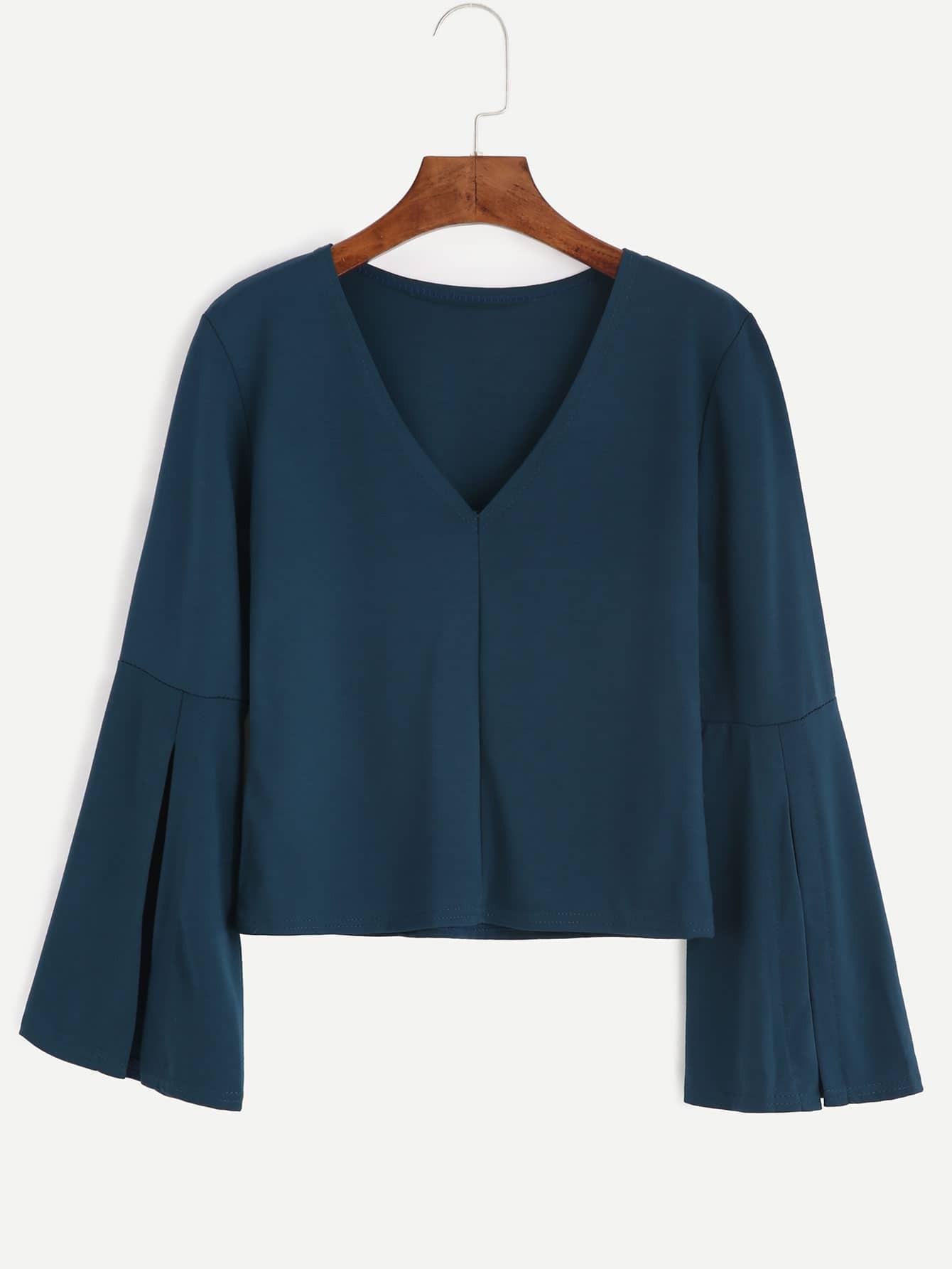 Dark Green V Neck Bell Sleeve T Shirtfor Women Romwe