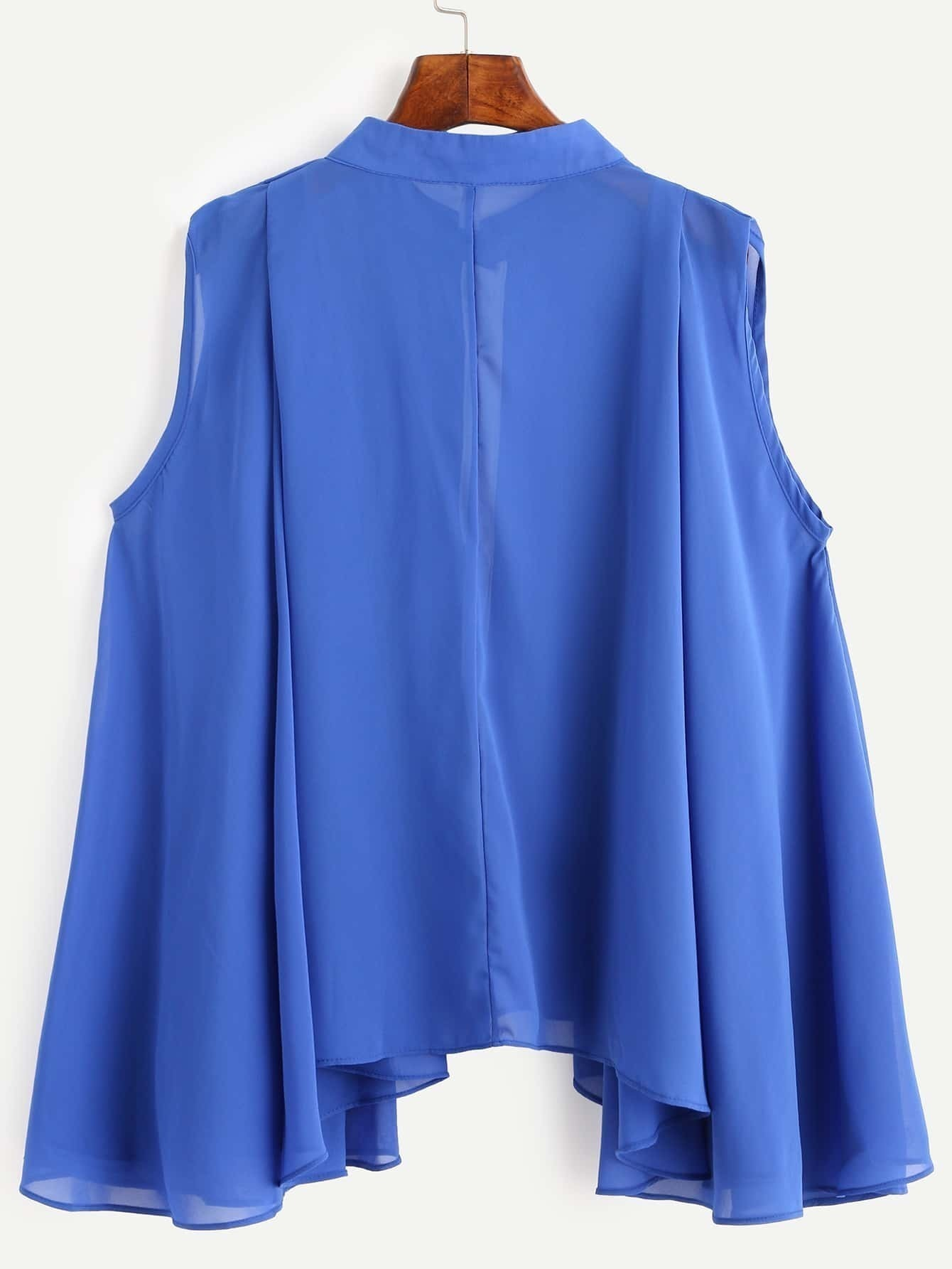 Royal Blue Contrast Placket Asymmetrical Chiffon Blousefor