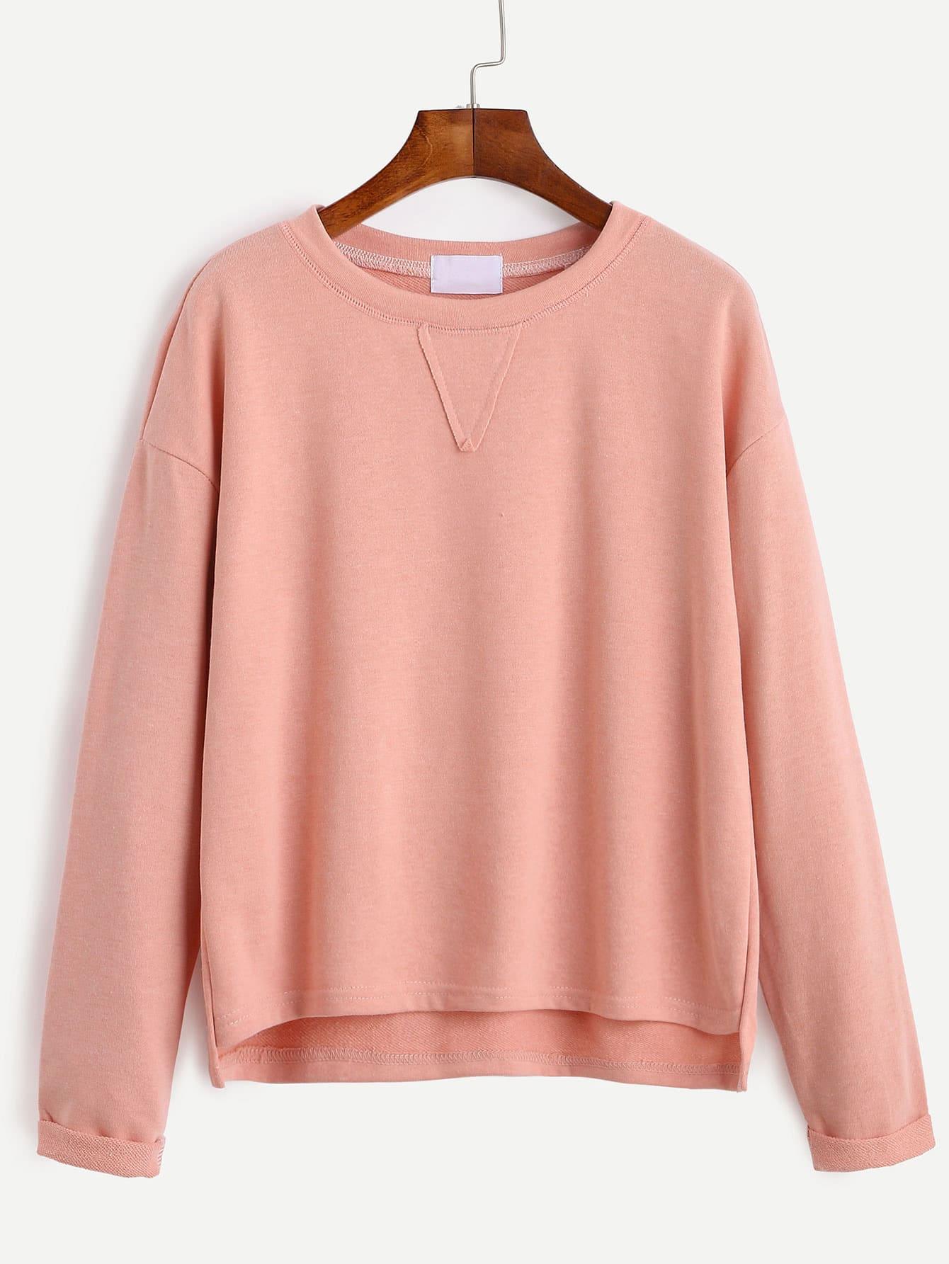 Pink Drop Shoulder High Low Cuffed T Shirt