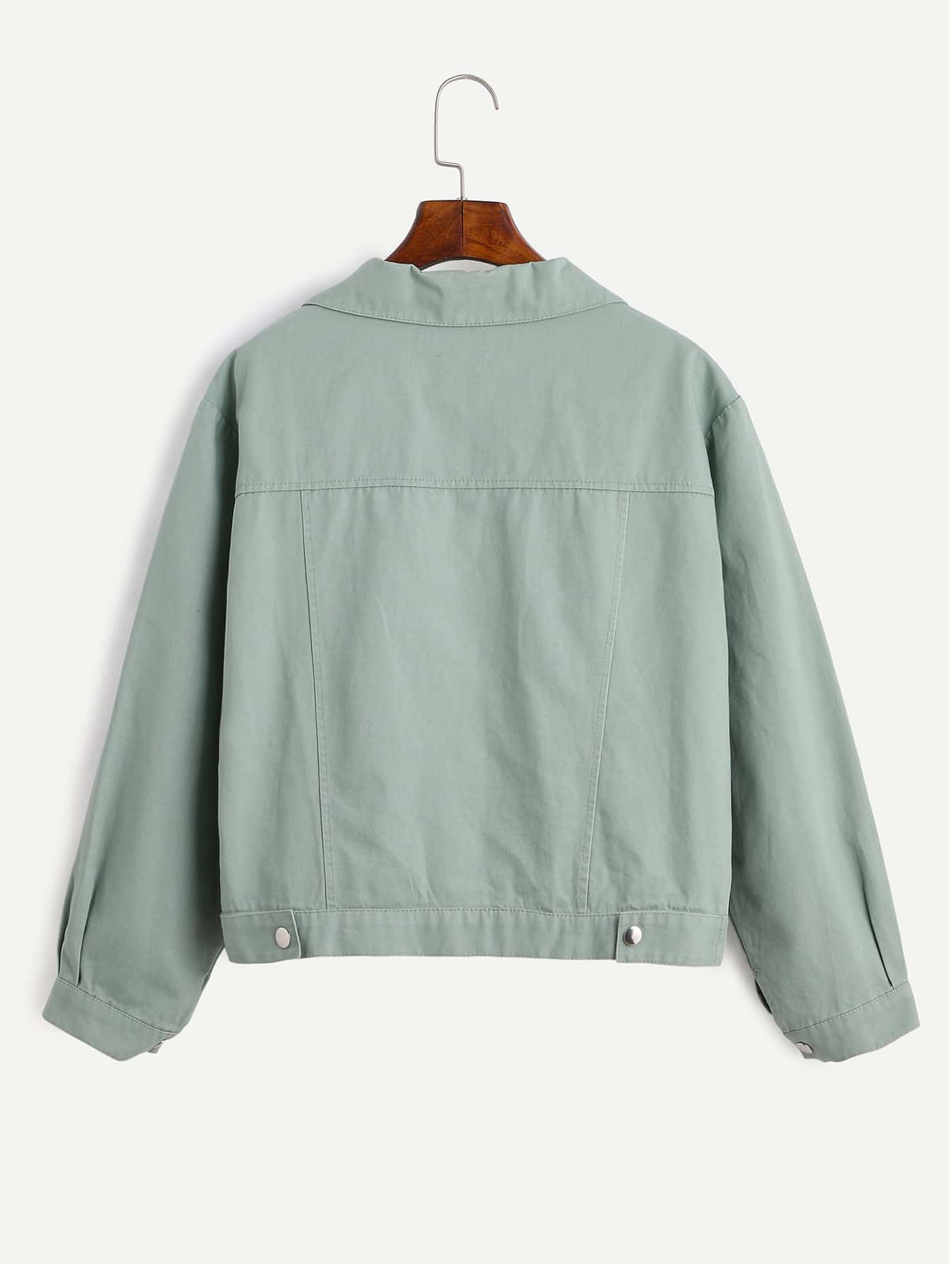 Pale Green Zipper Front Jacket With Pockets
