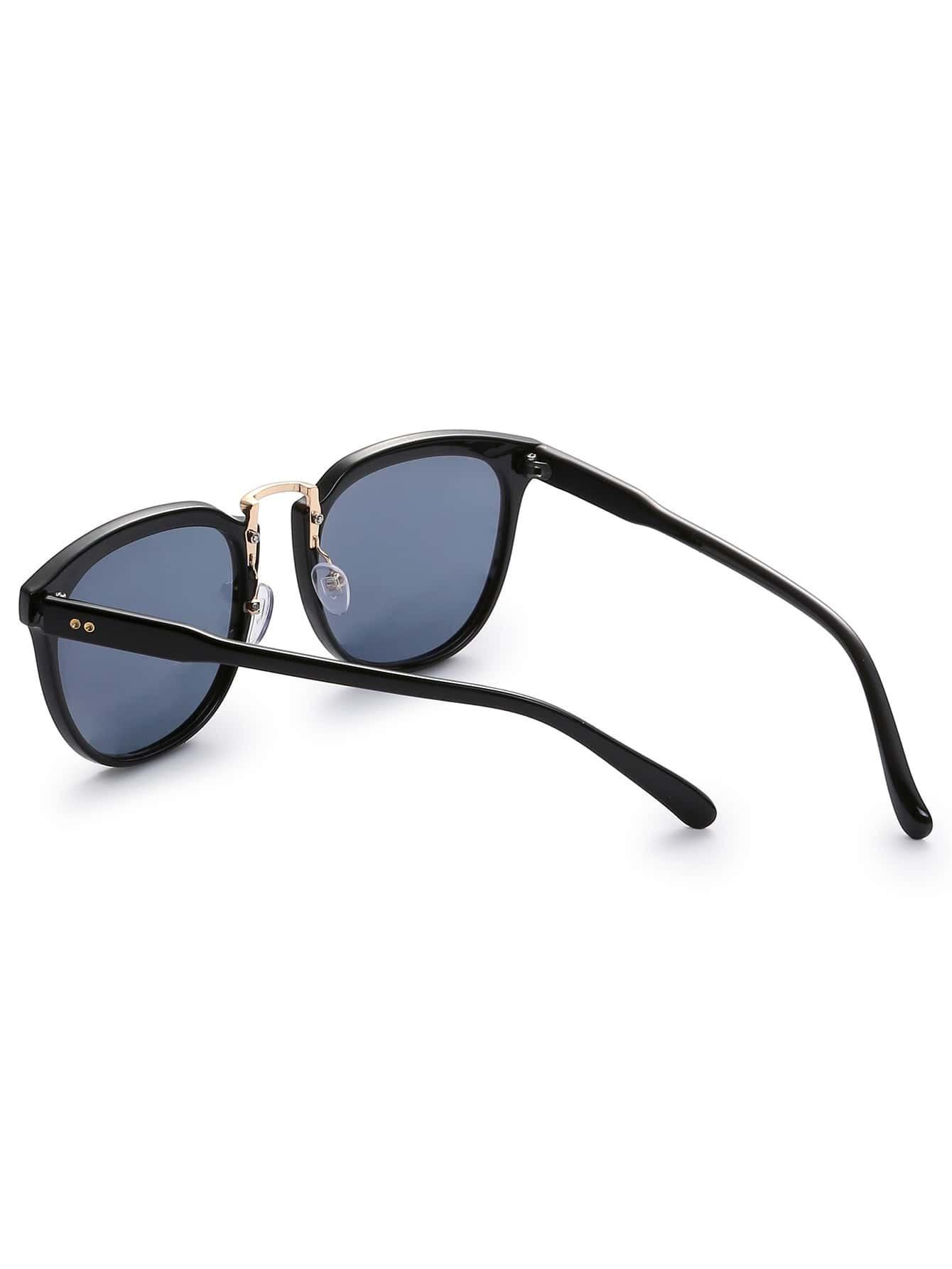 Gold Frame Black Lenses Sunglasses : Black Frame Gold Metal Bridge Grey Lens Sunglasses