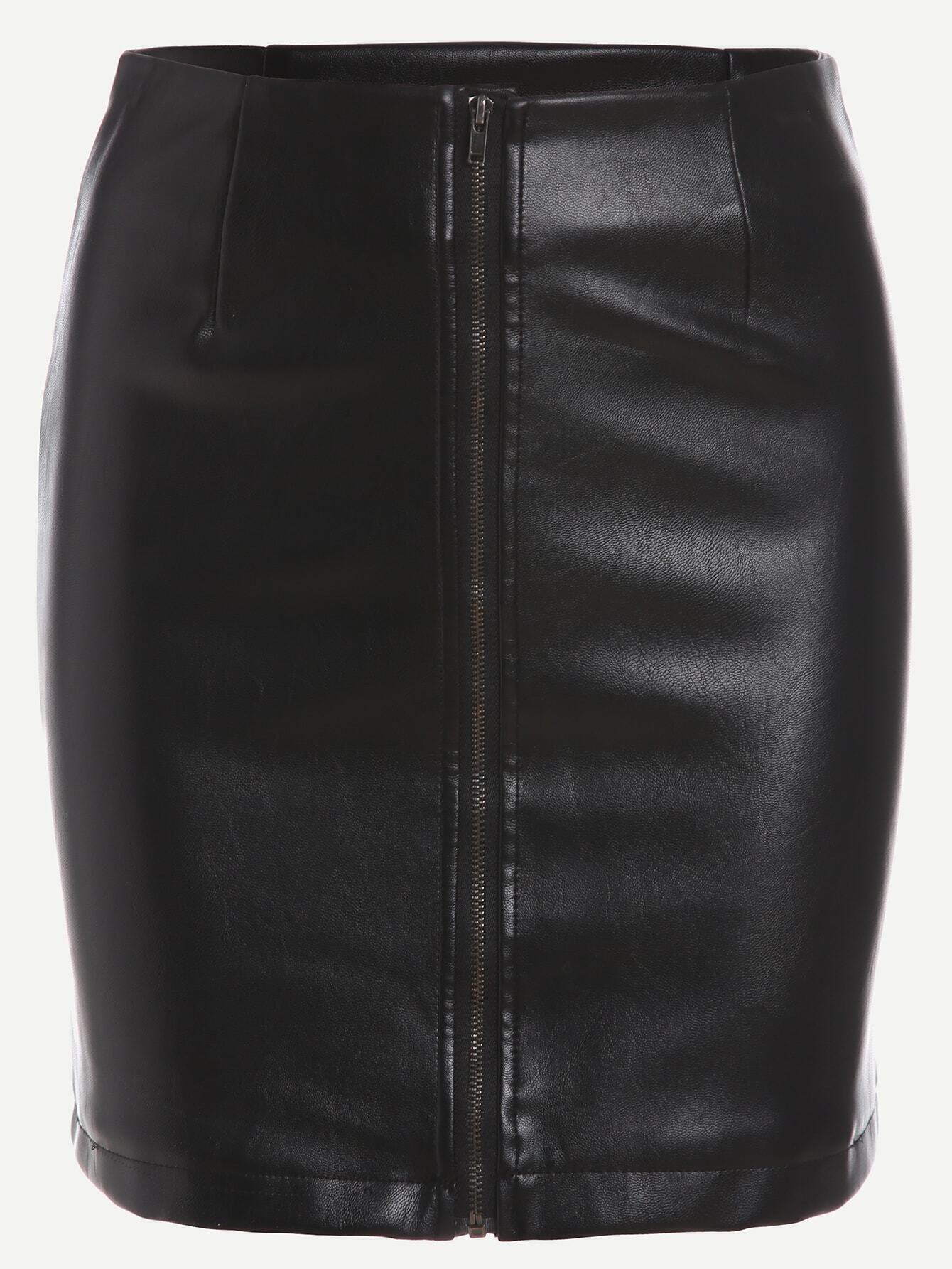 black faux leather zipper front bodycon skirtfor romwe