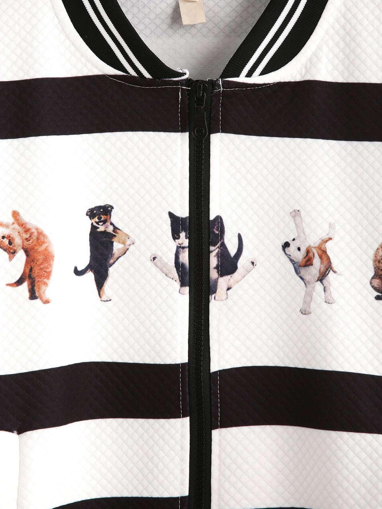 veste rayures imprim animaux noir blanc. Black Bedroom Furniture Sets. Home Design Ideas