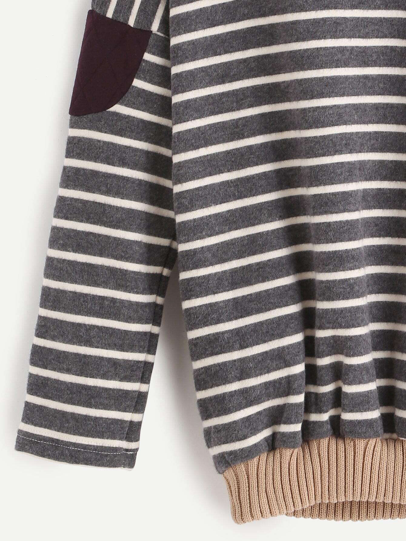 elbow patch template - contrast trim striped elbow patch sweatshirtfor women romwe