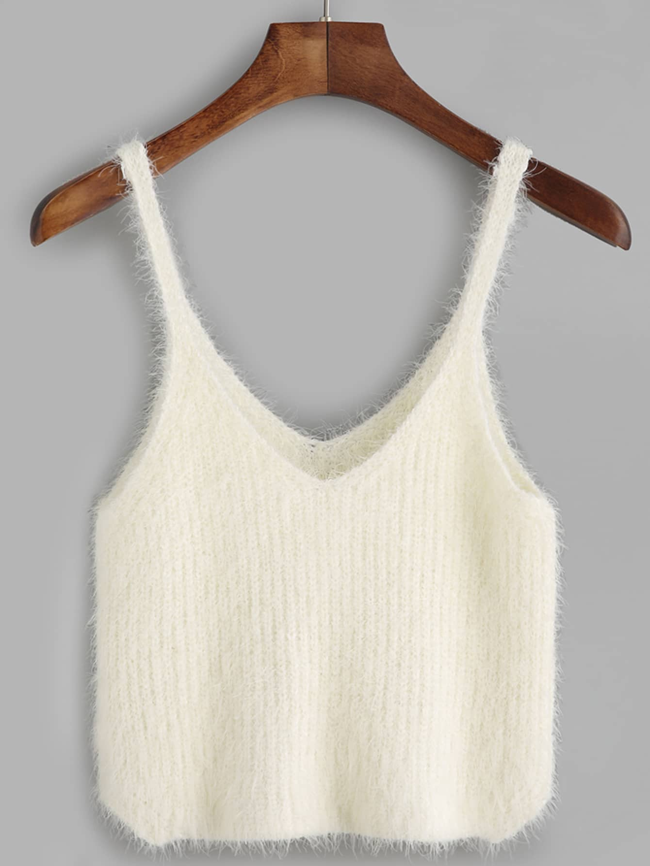 white fuzzy crop cami topfor women romwe. Black Bedroom Furniture Sets. Home Design Ideas