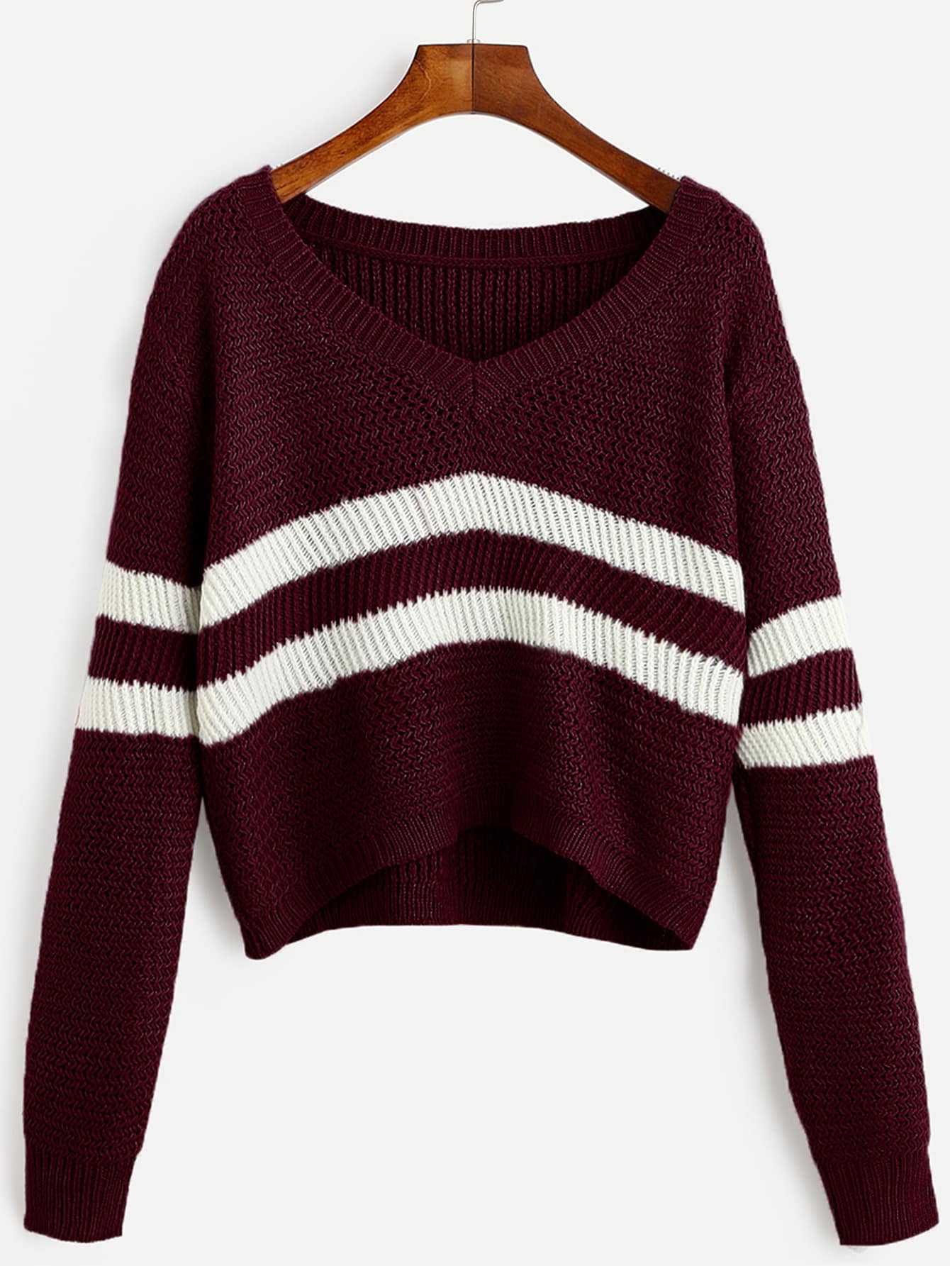 Burgundy Striped V Neck Crop SweaterFor Women-romwe