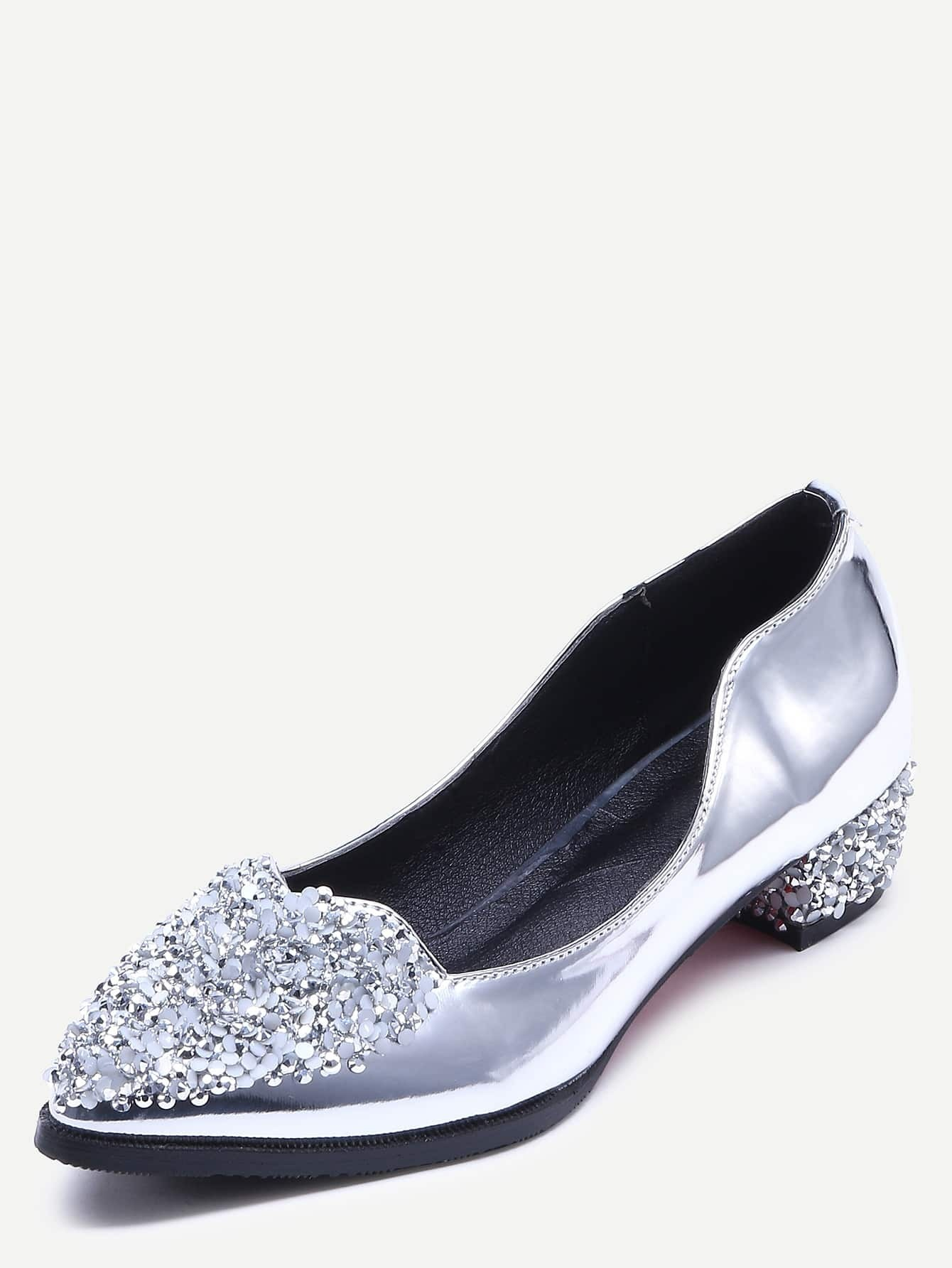 silver patent leather sequins shoesfor romwe