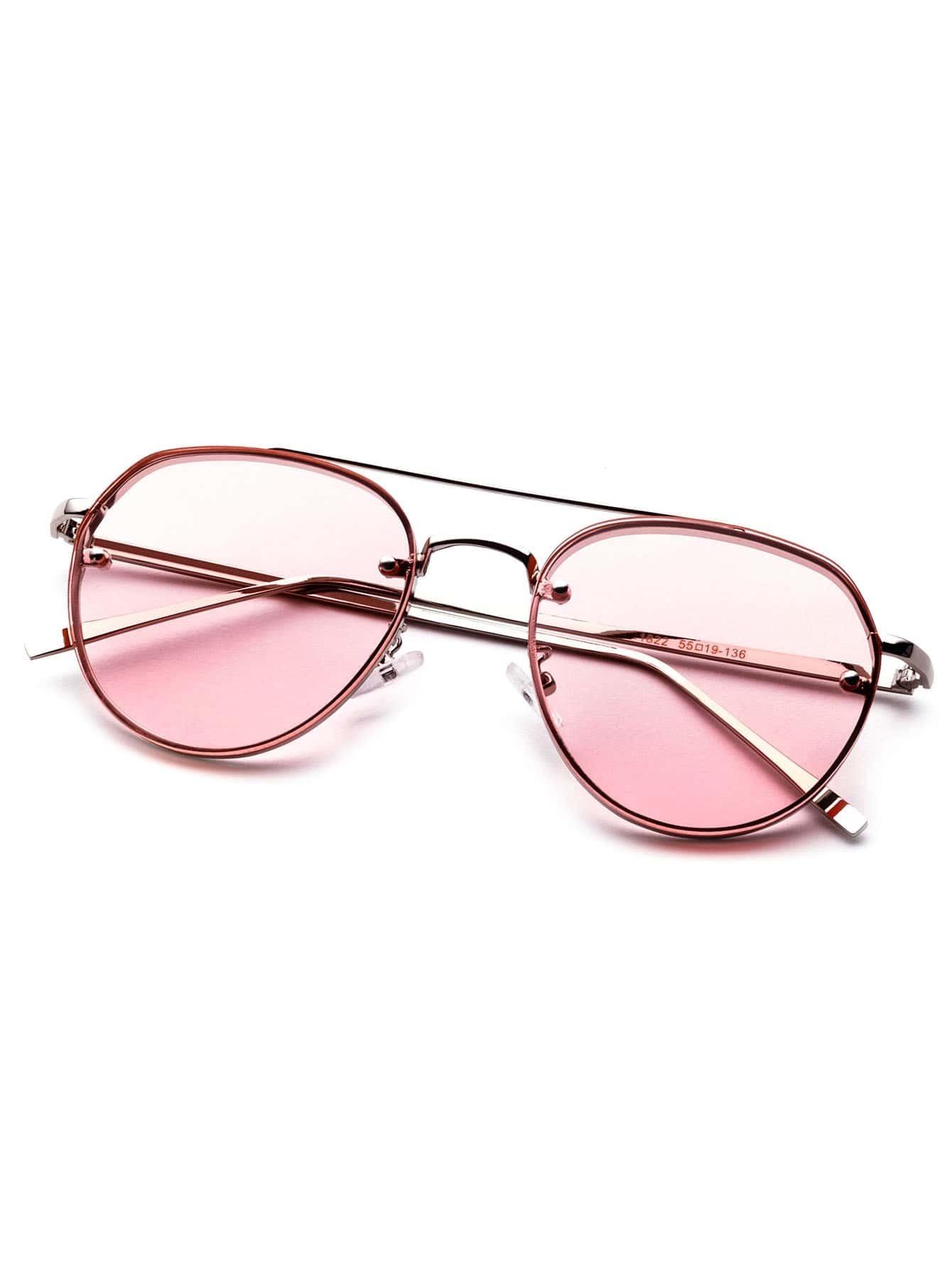 lunettes de soleil d 39 aviateur monture en m tal verre rose. Black Bedroom Furniture Sets. Home Design Ideas