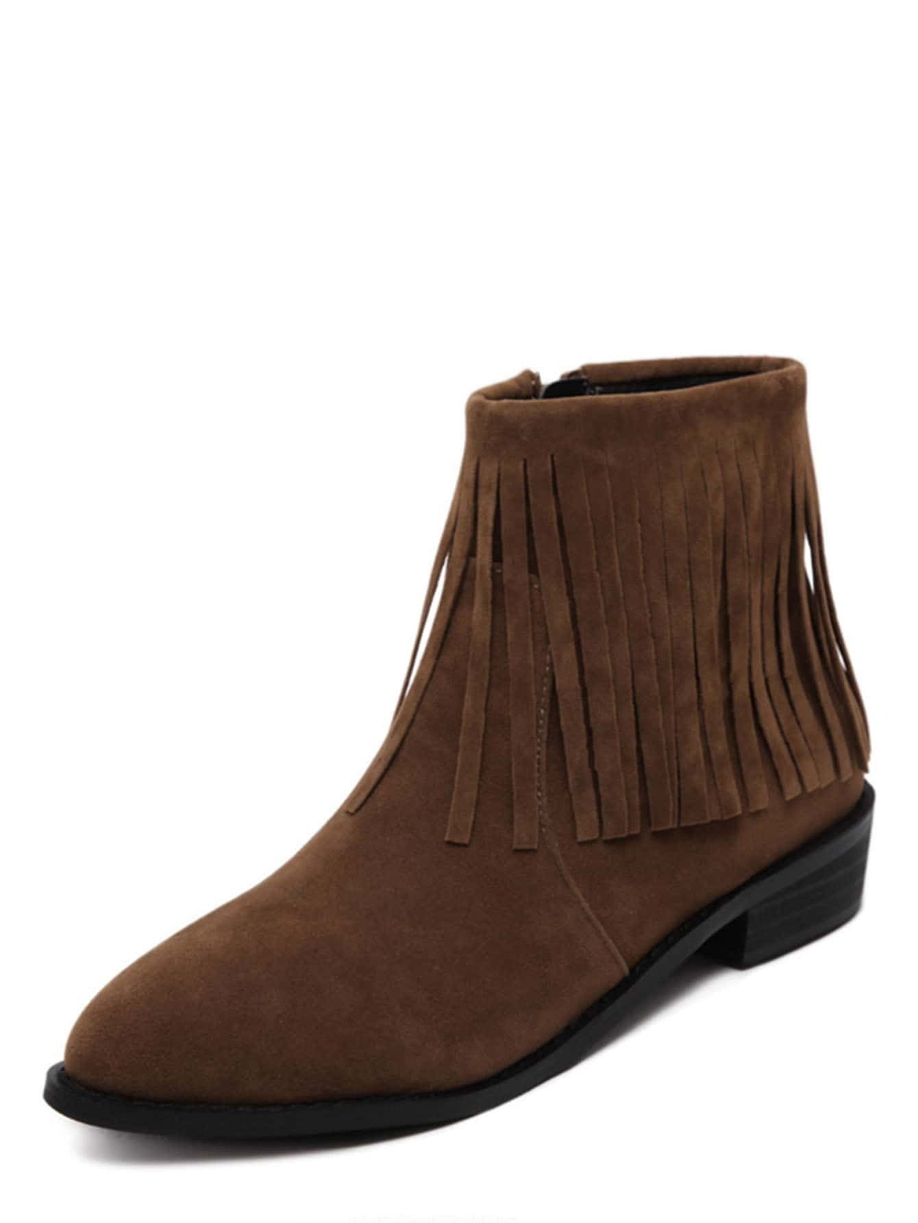 brown faux suede tassel ankle bootsfor romwe