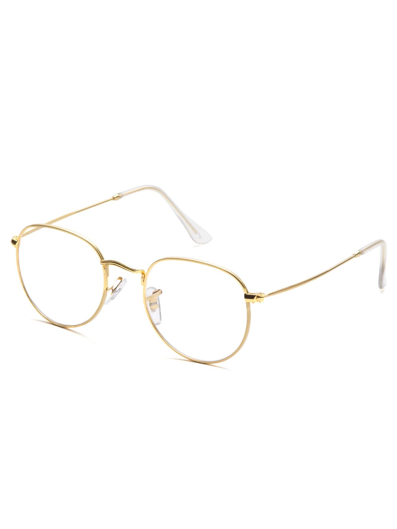 Glasses Frames In Gold : Gold Frame Clear Lens Glasses