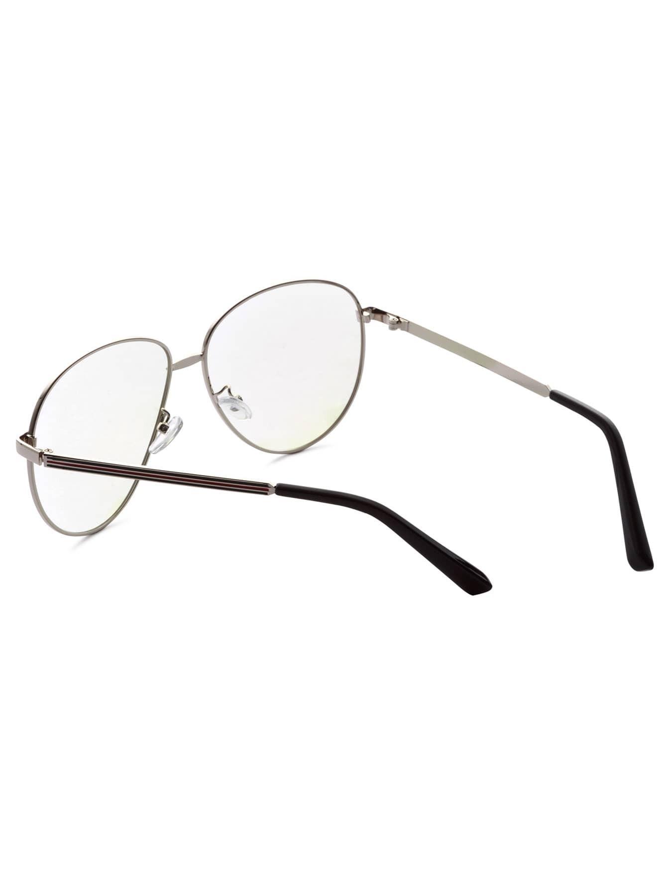 Silver Frame Large Lens Vintage Glasses