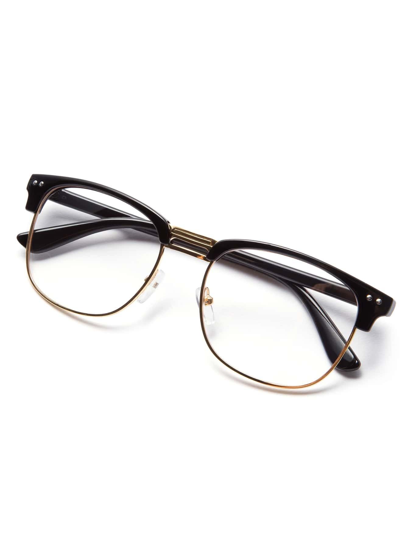 Black Frame Glasses With Gold : Black Open Frame Gold Trim Glasses