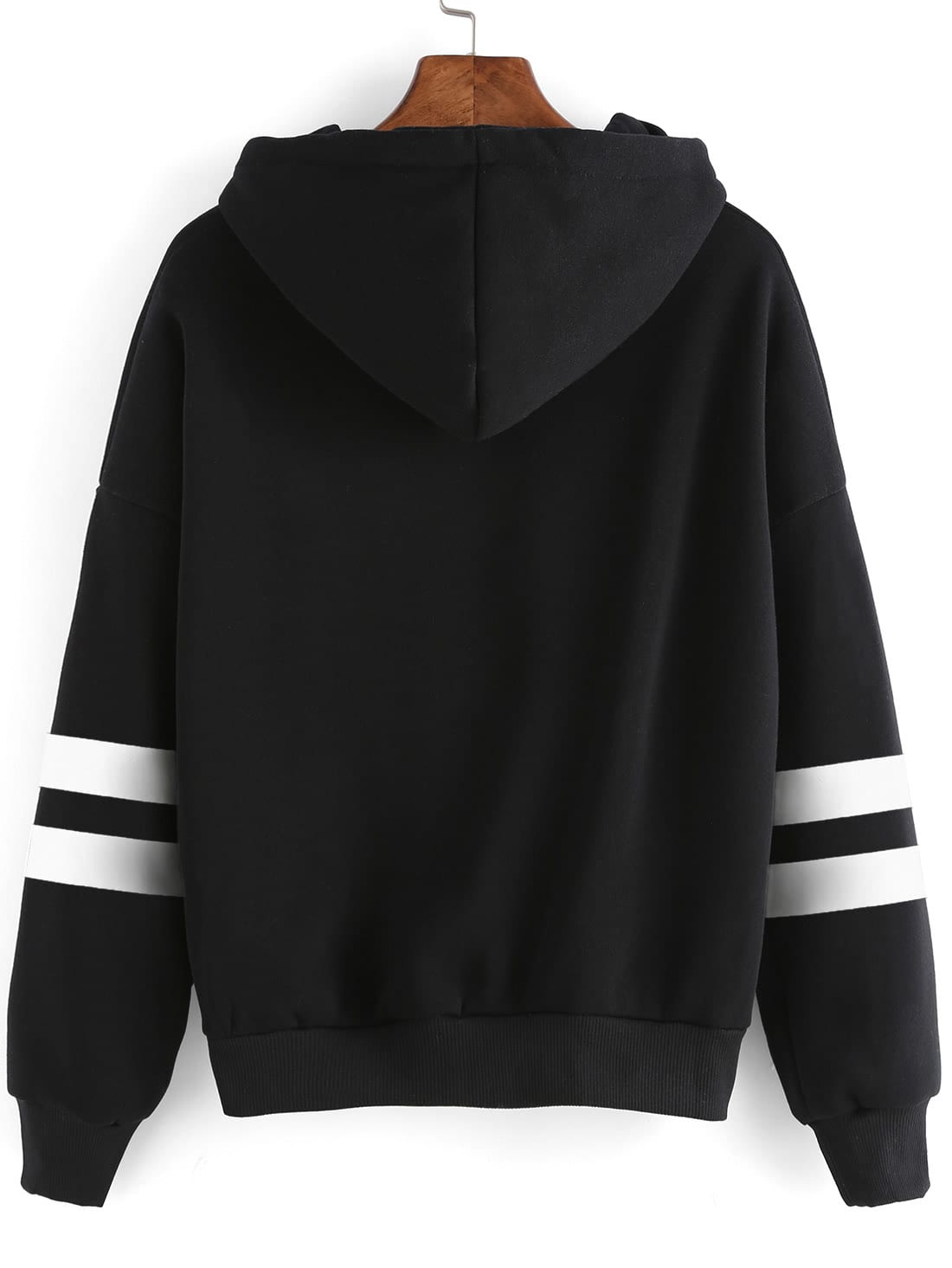 Black Drop Shoulder Varsity Striped Hooded SweatshirtFor Women-romwe