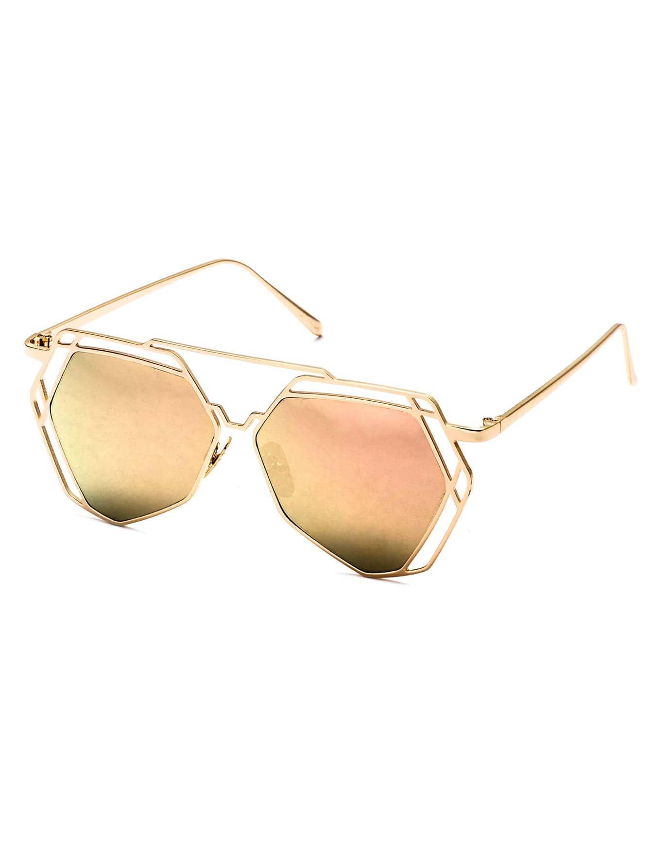 Gold Geometric Hollow Frame Mirrored Sunglasses