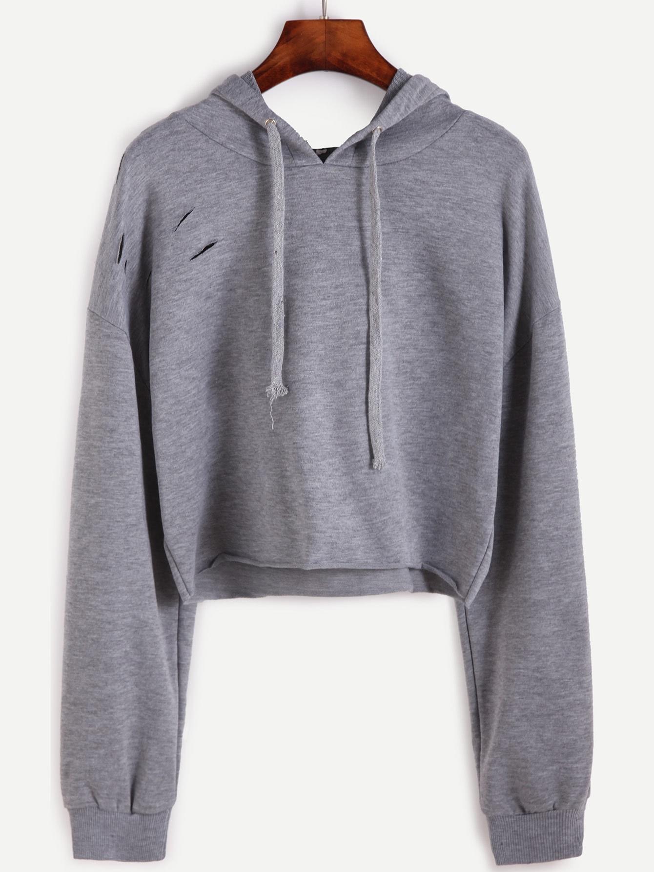 Drop Shoulder Ripped Drawstring Hooded Crop SweatshirtFor Women-romwe