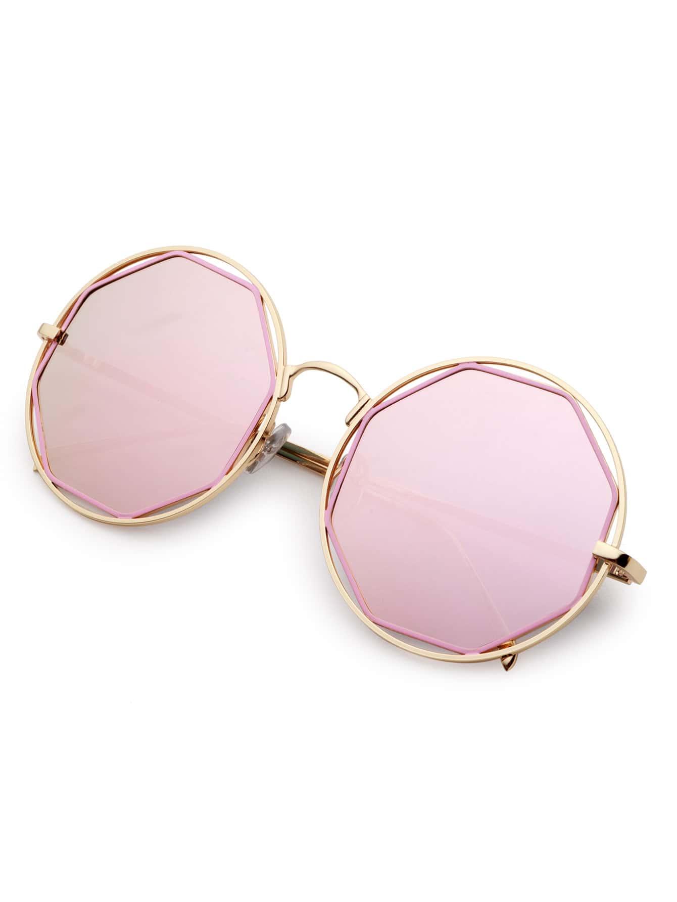 lunettes de soleil creux monture dor verre rose french romwe. Black Bedroom Furniture Sets. Home Design Ideas