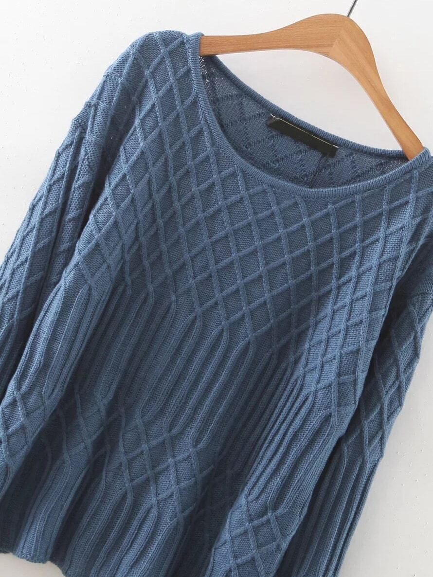 blue diamond pattern round neck sweaterfor womenromwe
