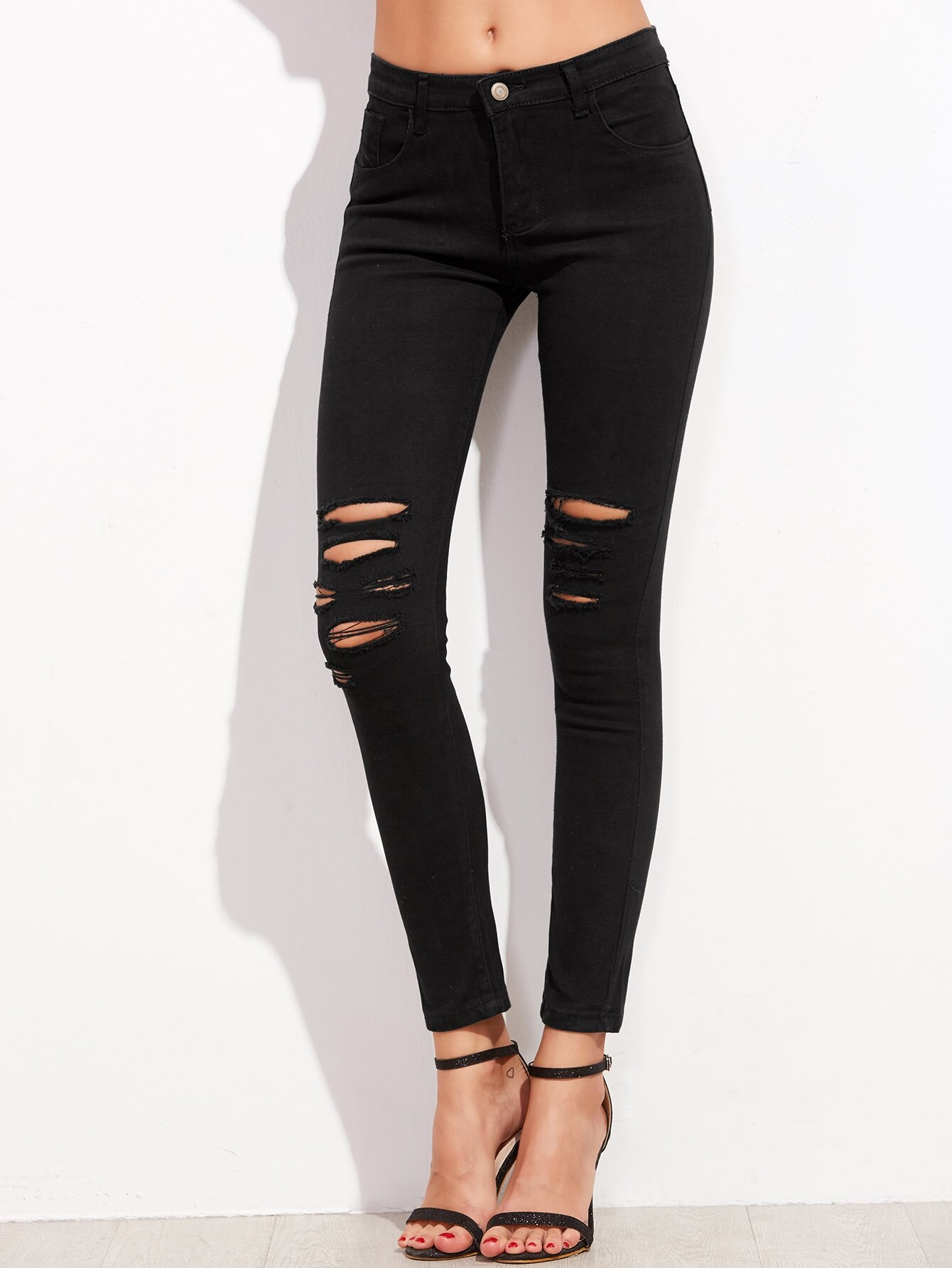 skinny kn chel jeans mit zerrissen design schwarz. Black Bedroom Furniture Sets. Home Design Ideas