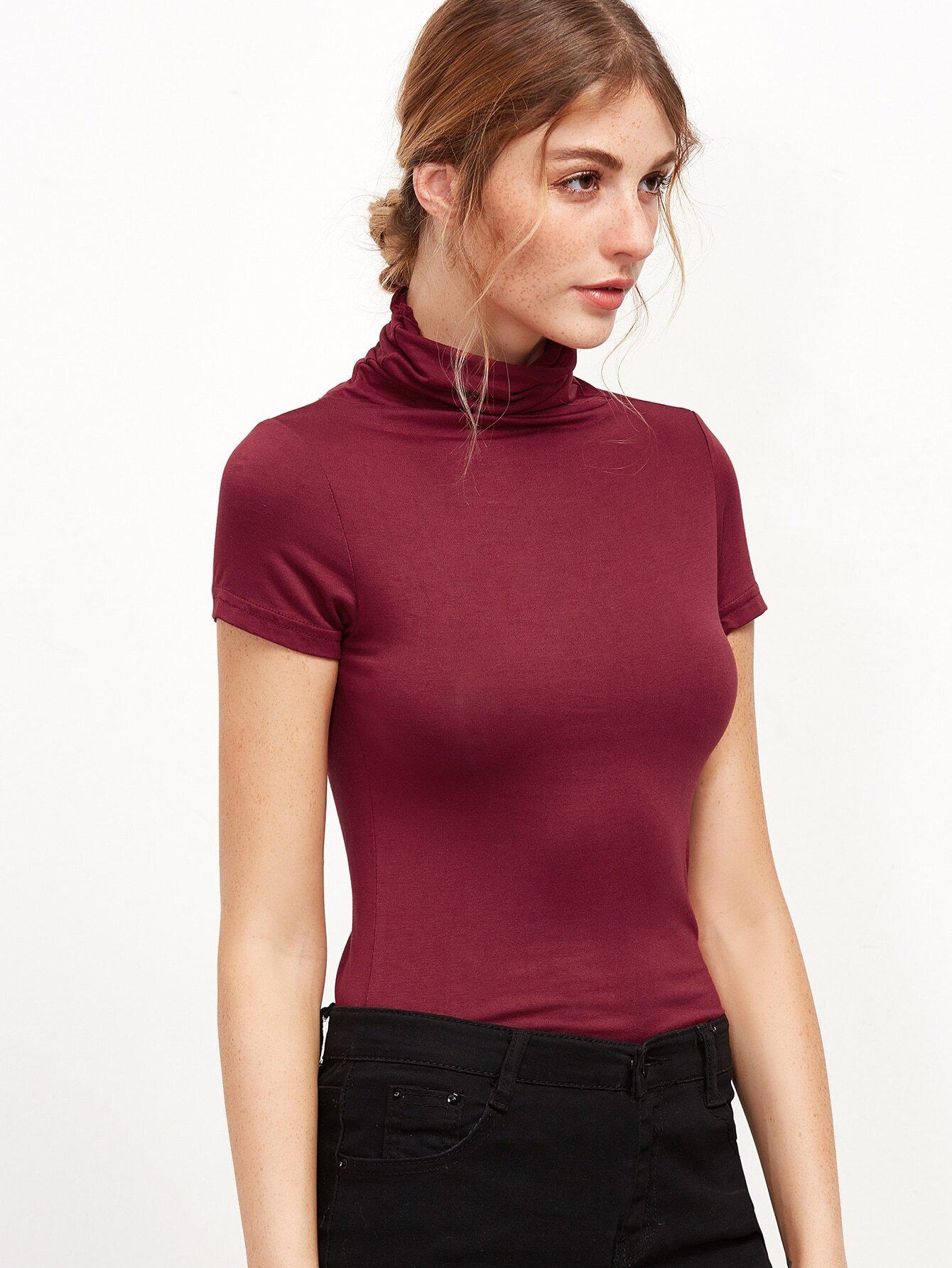 Burgundy high neck tight t shirtfor women romwe for Tight collar t shirts
